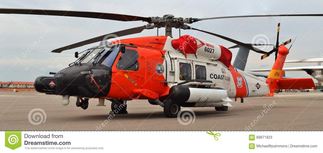 Coast Guard MH-60 Jayhawk Rescue Helicopter Editorial Stock