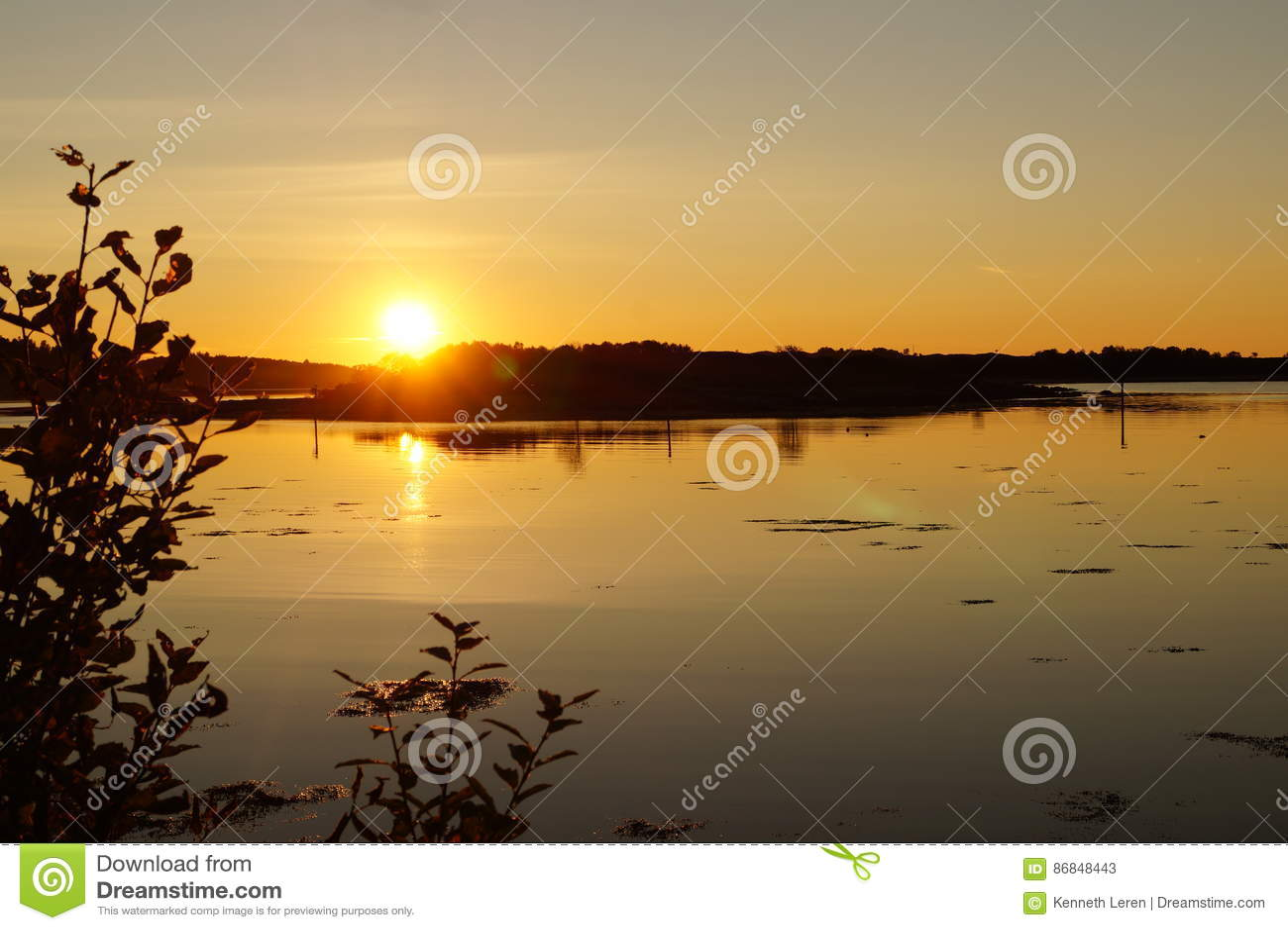 Leren Bank Summer.Coast By Nightfall Norway Stock Image Image Of Sunset