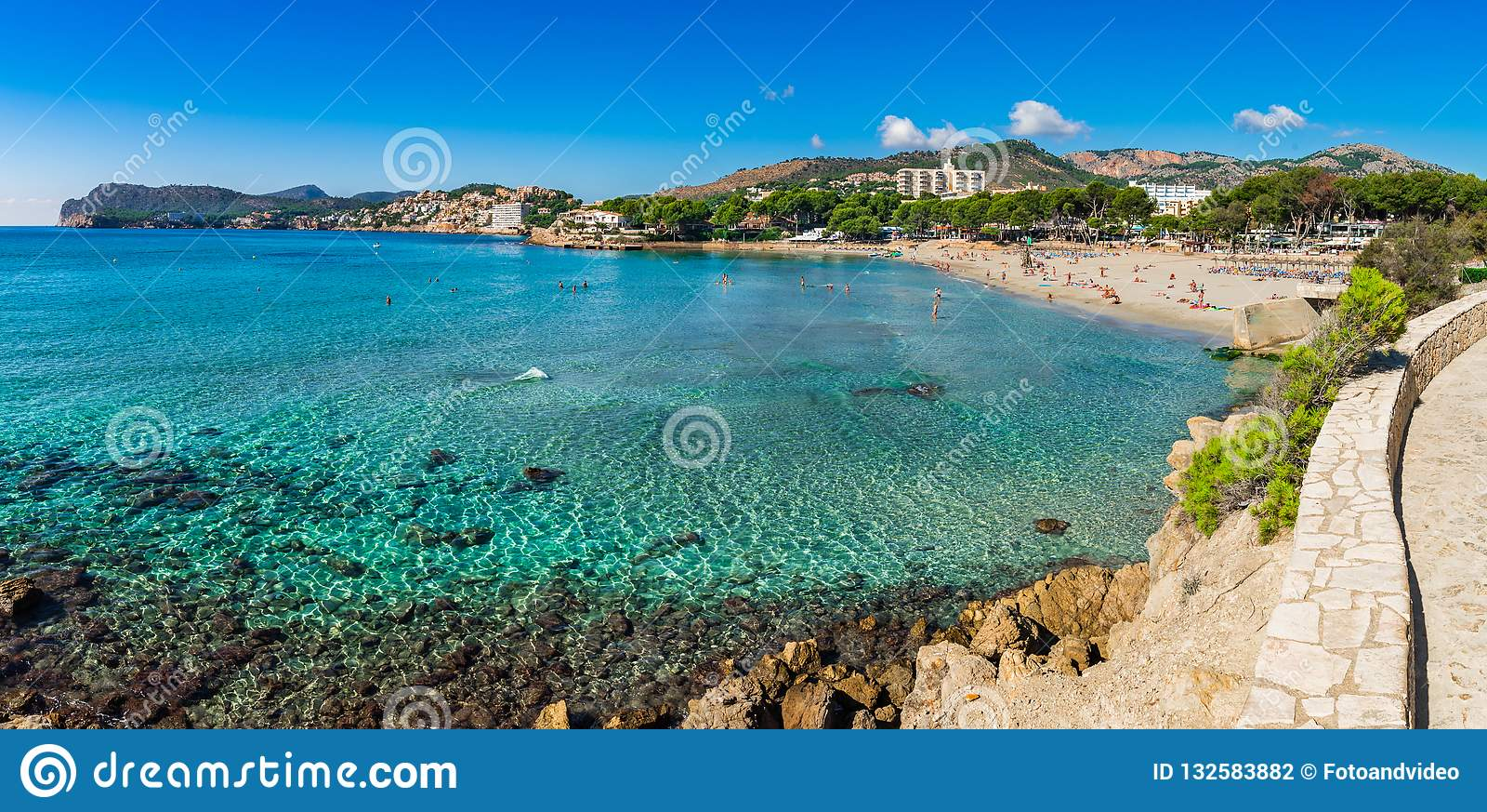 Coast Panorama View Of Paguera Beach On Majorca Island Spain Stock Photo Image Of Holiday People 132583882