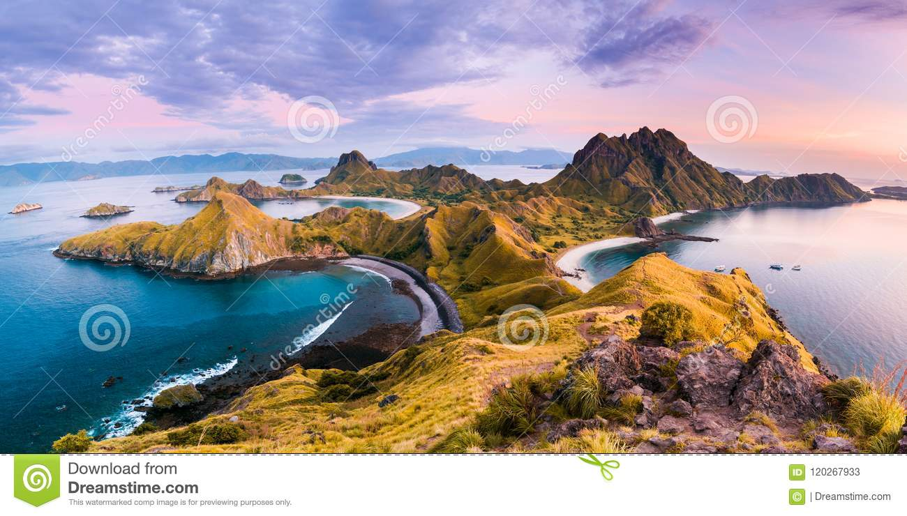 Coast view of Padar Island in a cloudy morning