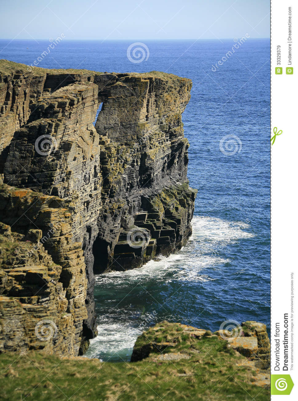 Coastal Arch Near Wick Caithness Scotland Uk Royalty