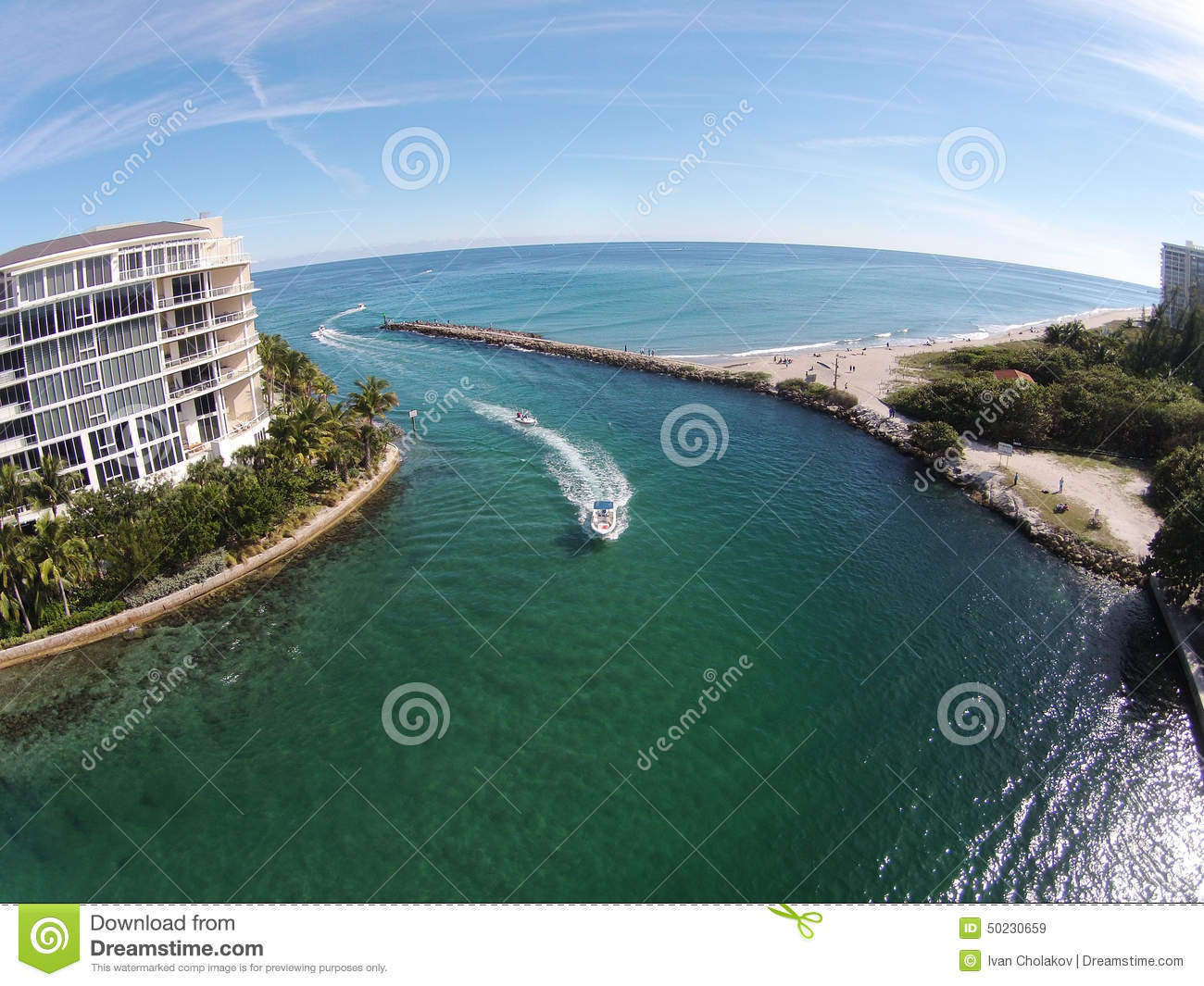 Coastal Inlet In Florida Aerial View Stock Photo Image