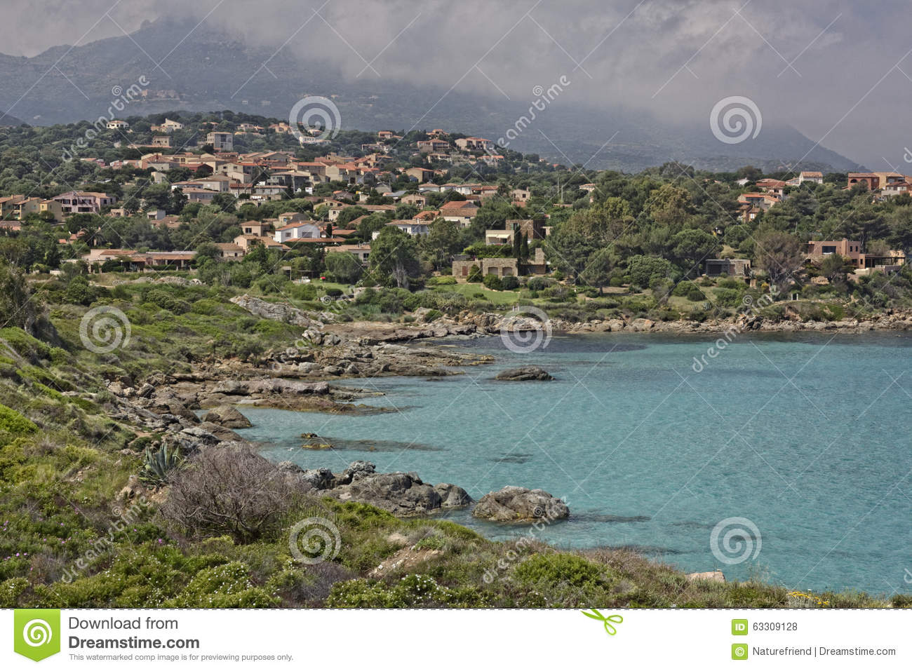 Coastal landscape near Ile Rousse at the northern coast of Corsica, France