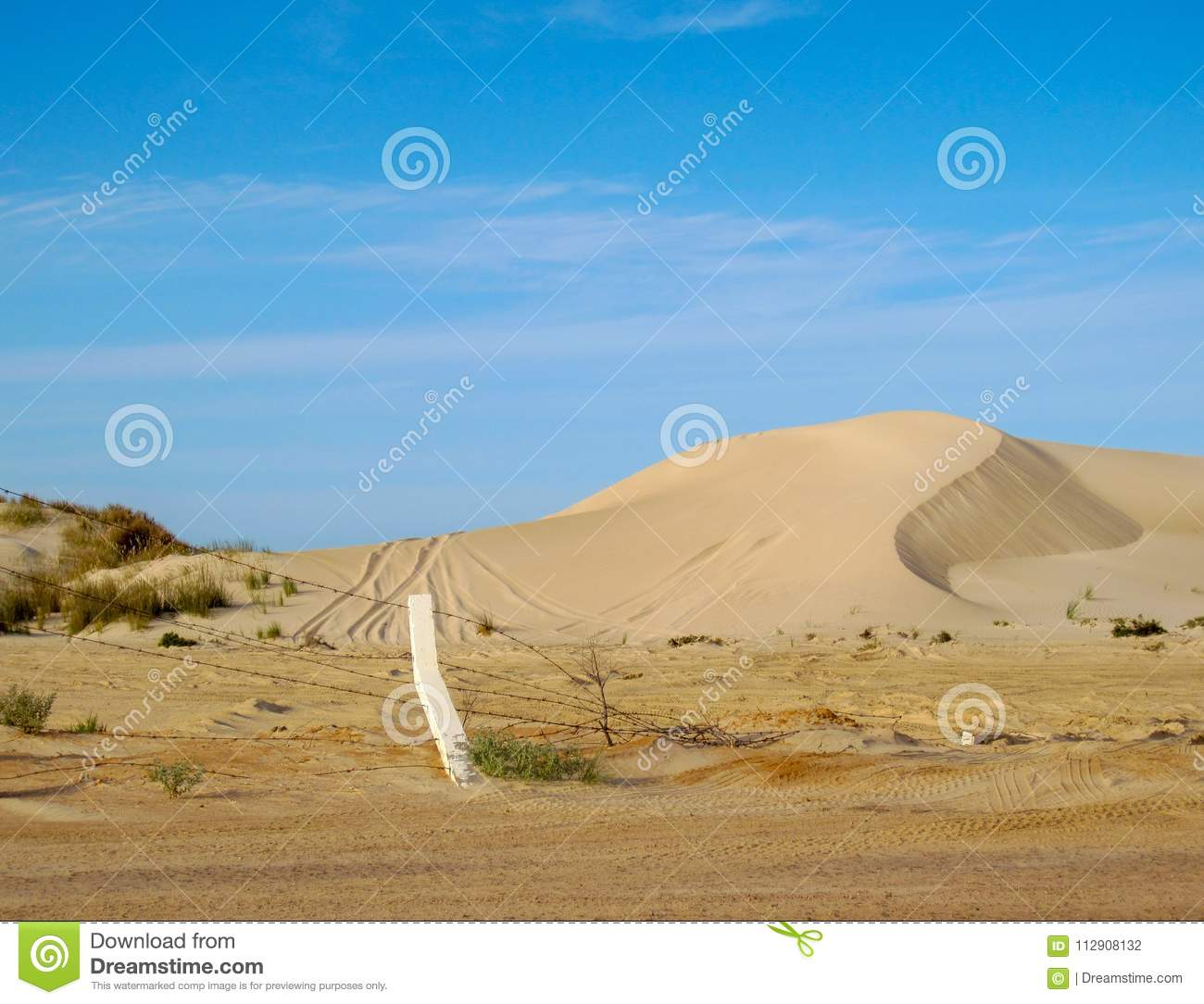 Coastal sand dunes of the Sahara Desert with tire tracks and barbed wire fence against blue sky