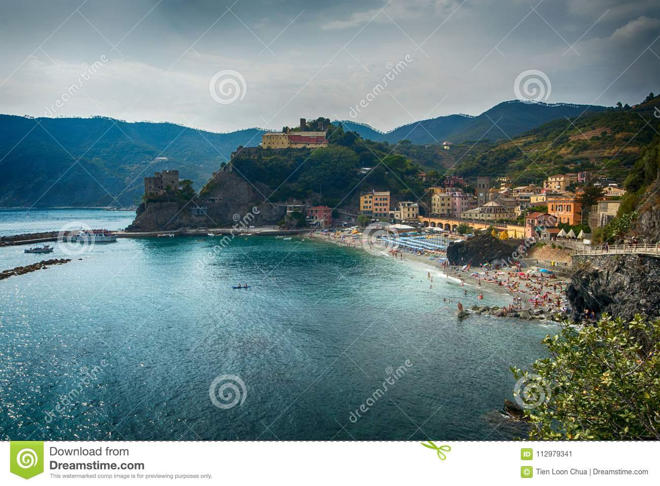 Wide angle view of Monterosso, Italy