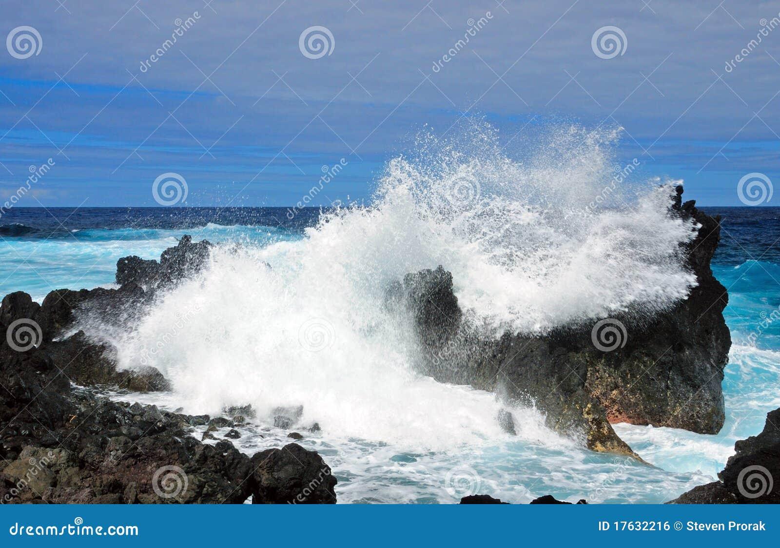 Coastal waves on rocks