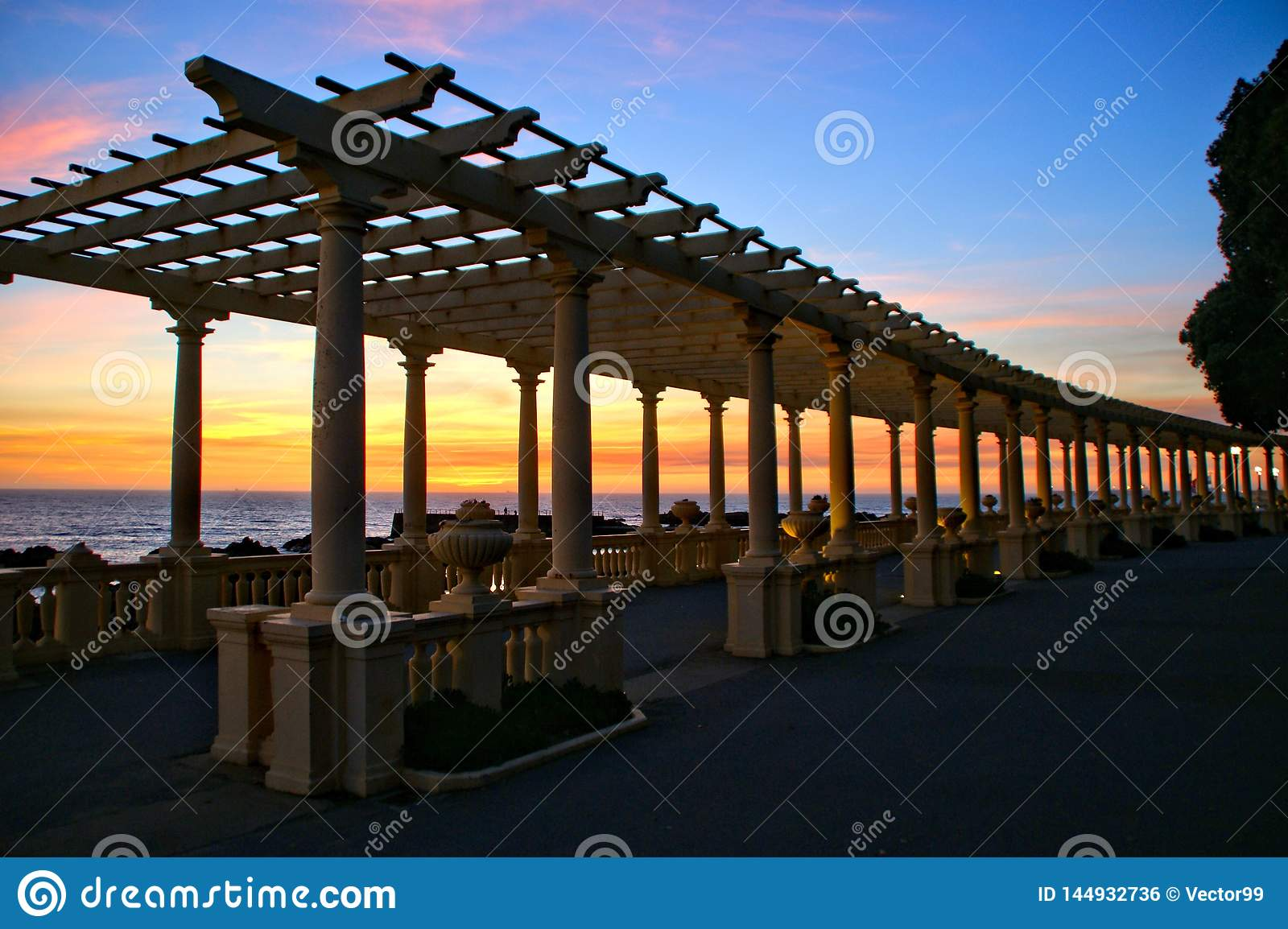 Coastal way sunset with Pergola at Foz do Douro