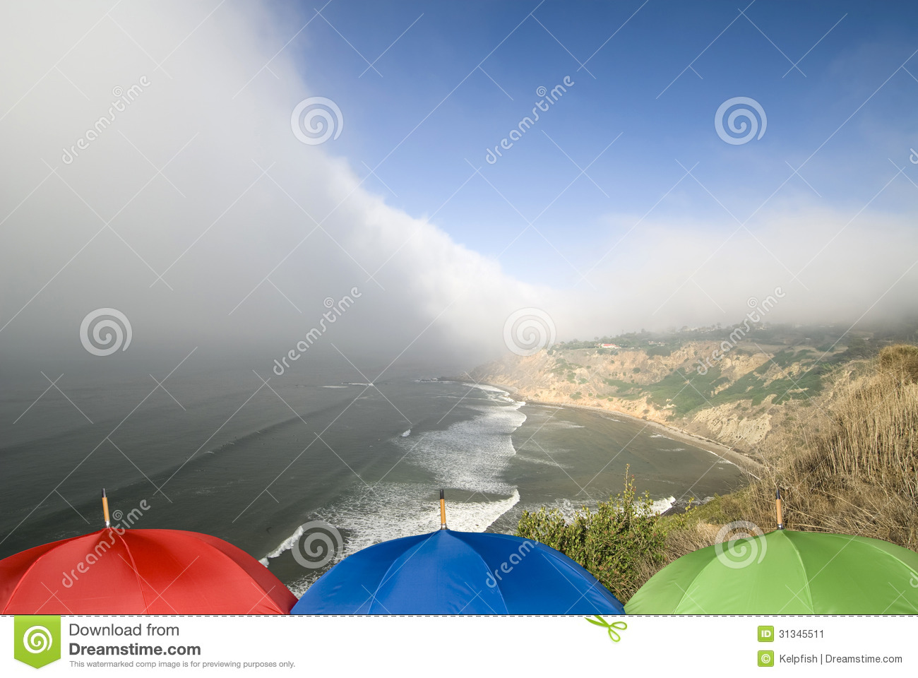 coastal weather front and umbrellas stock image image of