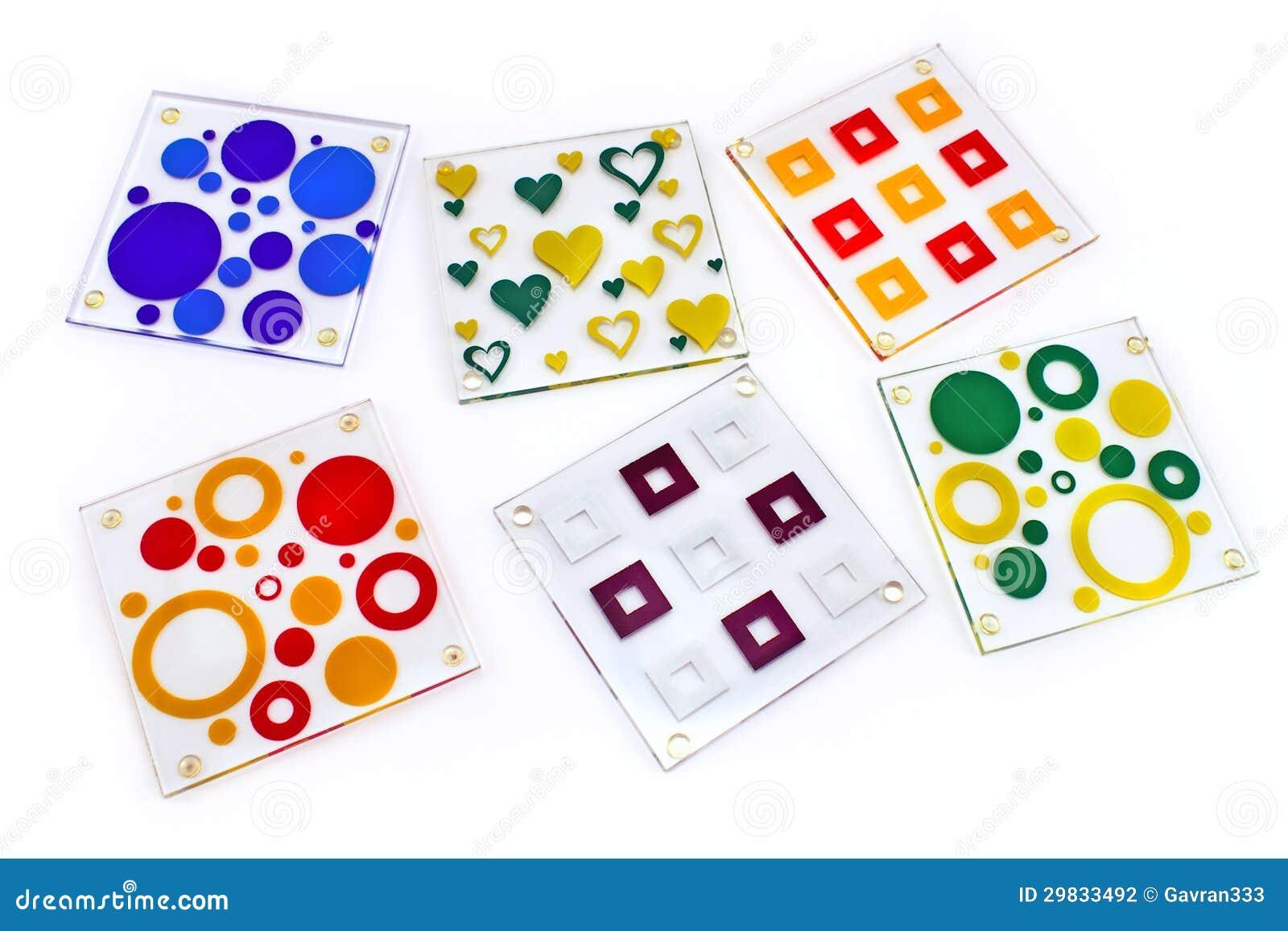 Coasters coloridos para o vidro