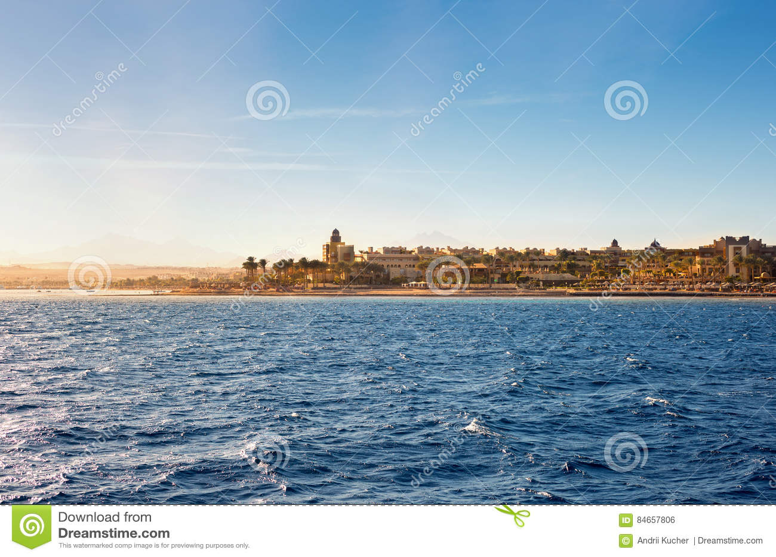 Coastline of Hurghada on the Sunset, Egypt