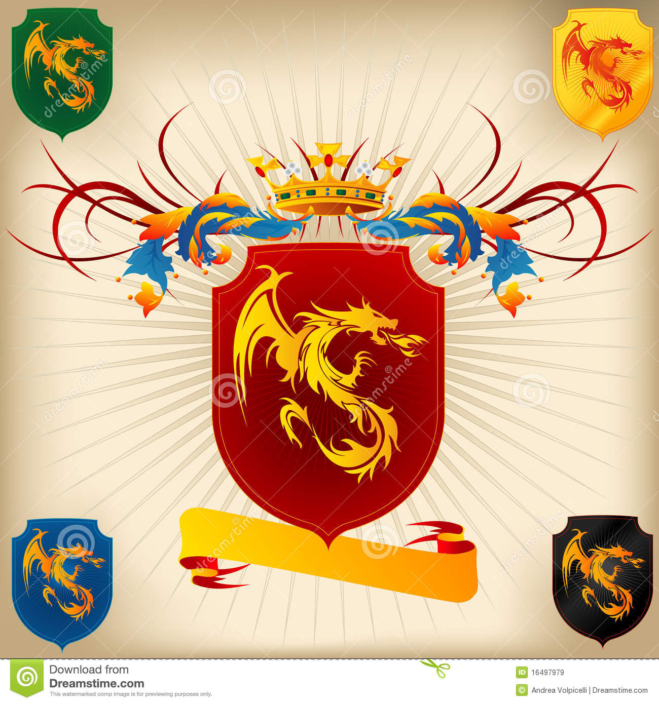 Coat of Arms 26 - Dragon stock illustration. Illustration ...