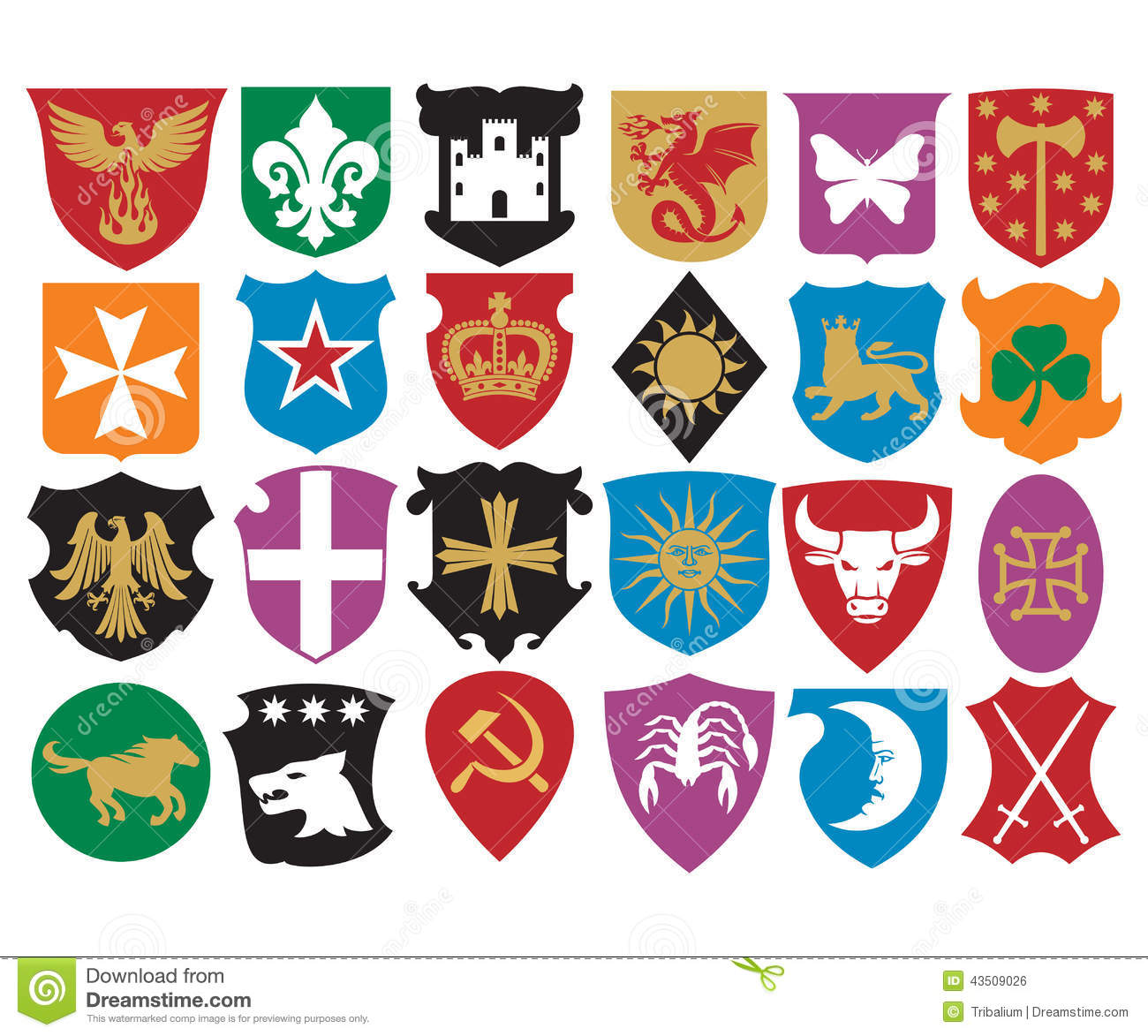Coat of arms collection stock vector  Illustration of army