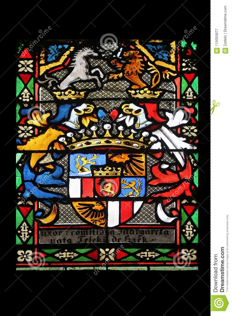 Coat of arms of Countess Telleki, stained glass in Zagreb cathedral