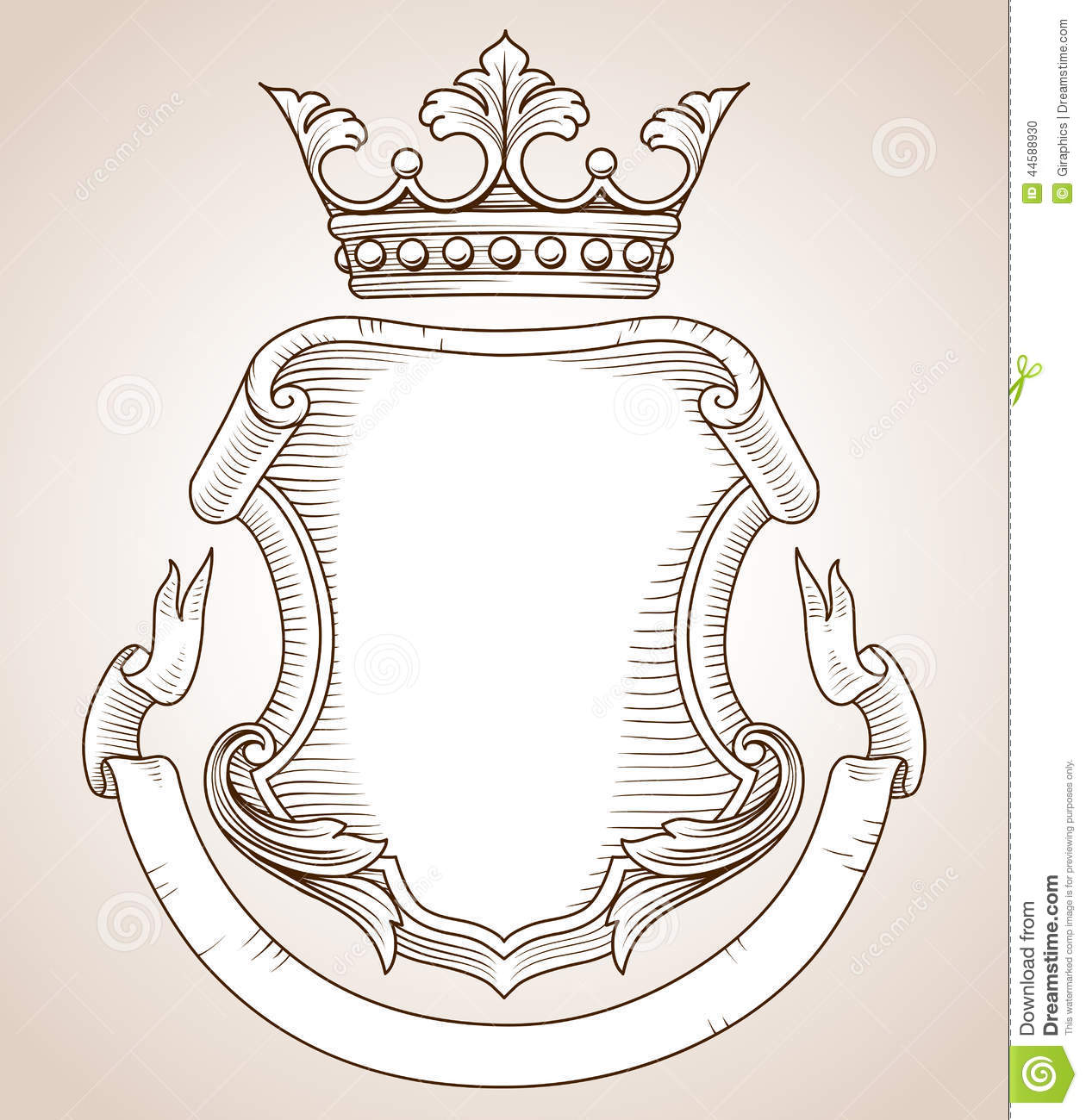 coat of arms stock vector illustration of floral scroll 44588930