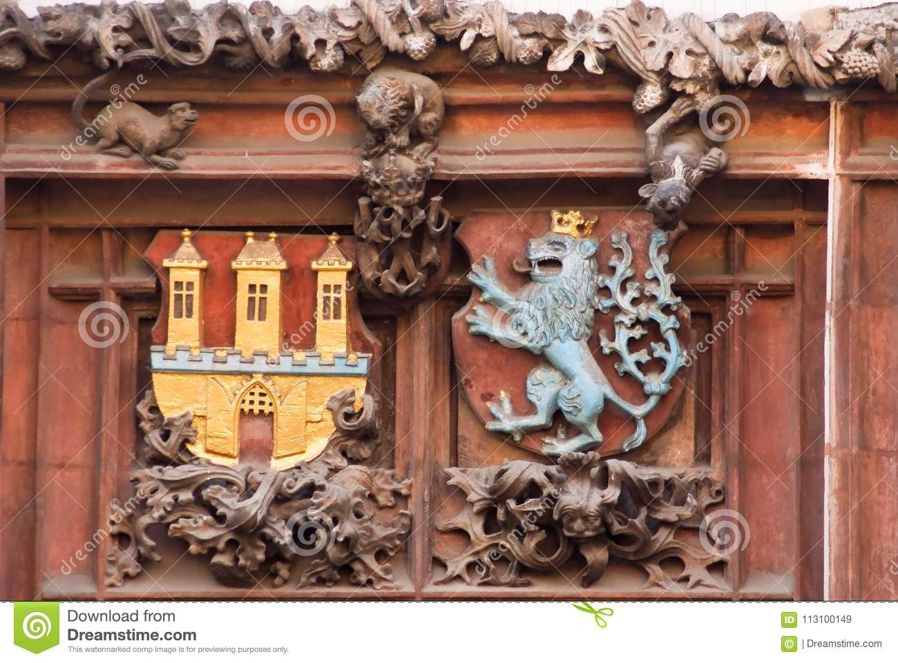 Architectural Decoration Of Building In Prague Czech Republic Stock