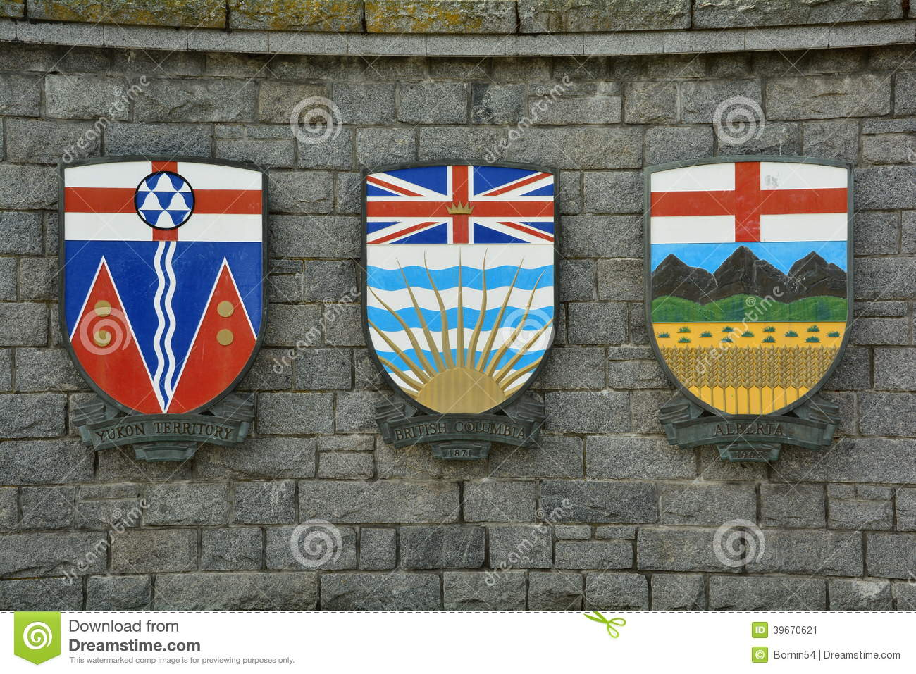 The Coat Of Arms For The Provinces Of Albertabritish Columbia And