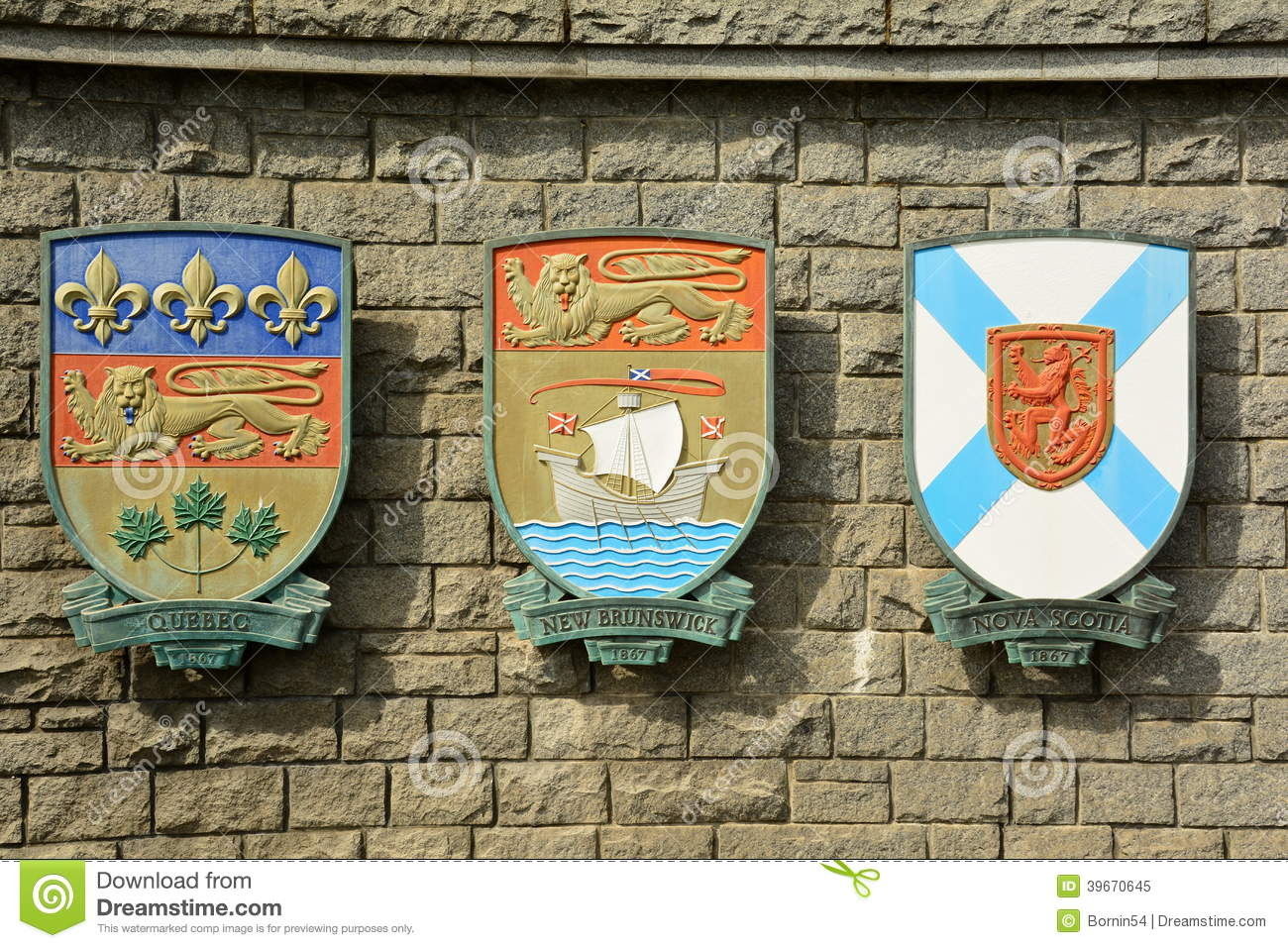 The Coat Of Arms For The Provinces Of Quebec,New Brunswick