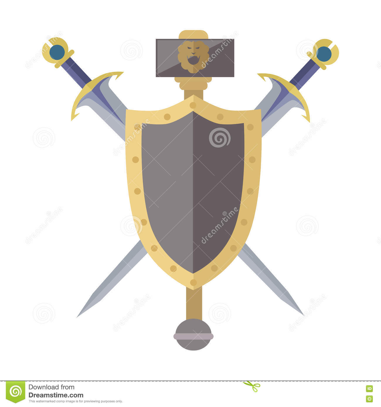 Coat Of Arms Shield With Swords Illustration. Stock Vector ...