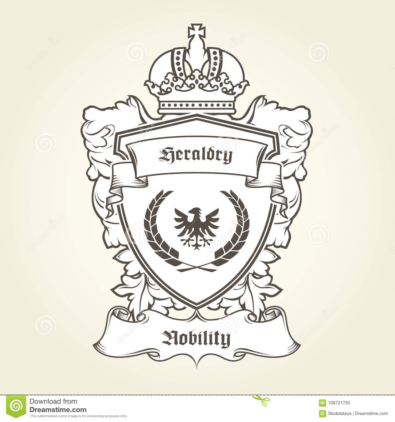 coat of arms template with heraldic eagle shield and crown stock