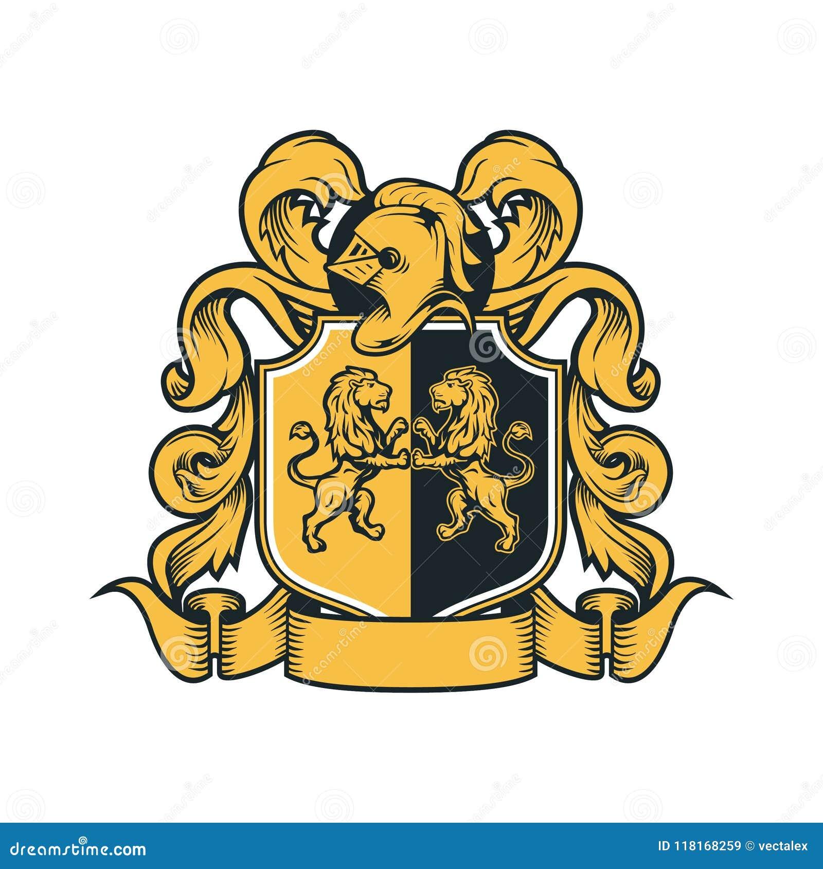 Coat Arms Vintage Knight Royal Family Crest Heraldic Emblem