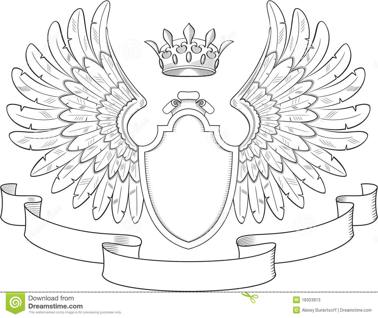 Coat Of Arms With Wings Illustration 18353913