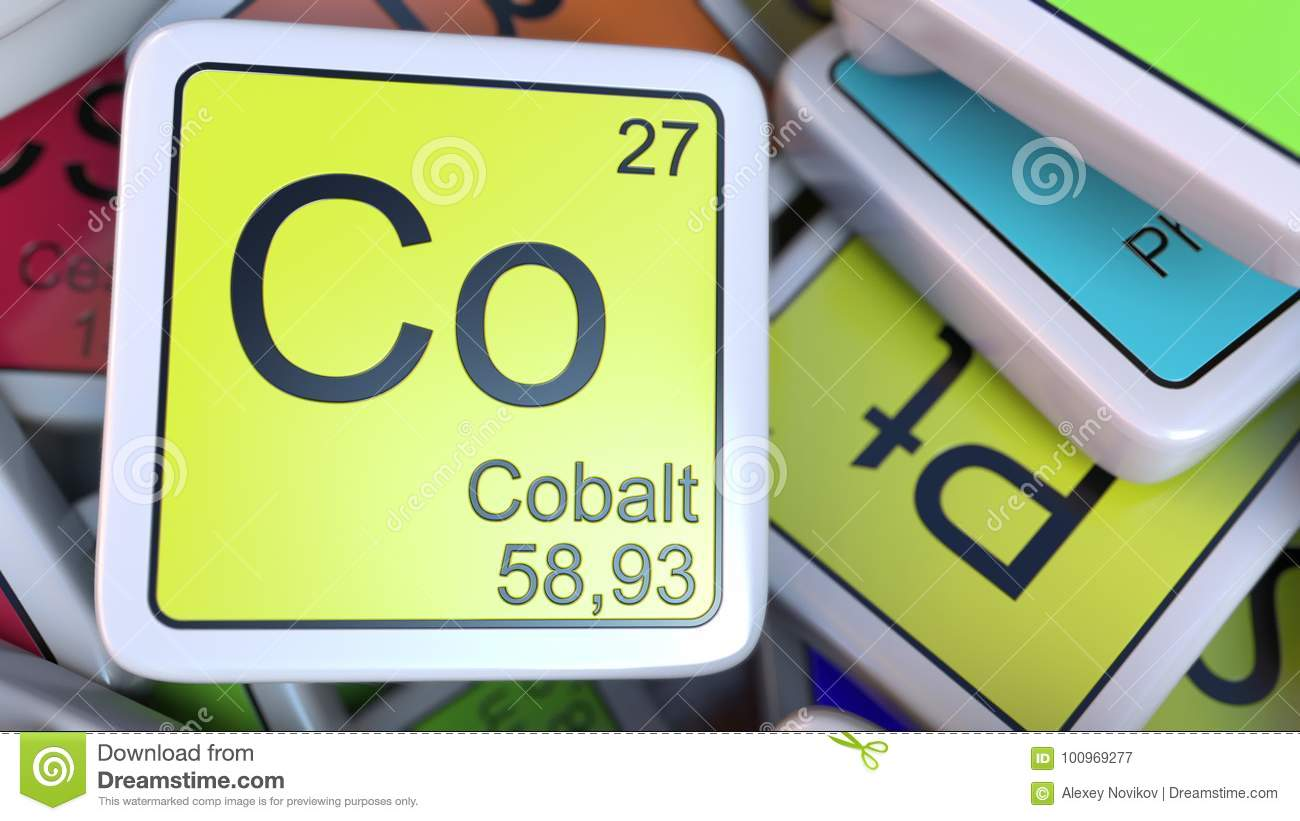 Cobalt Co Block On The Pile Of Periodic Table Of The Chemical