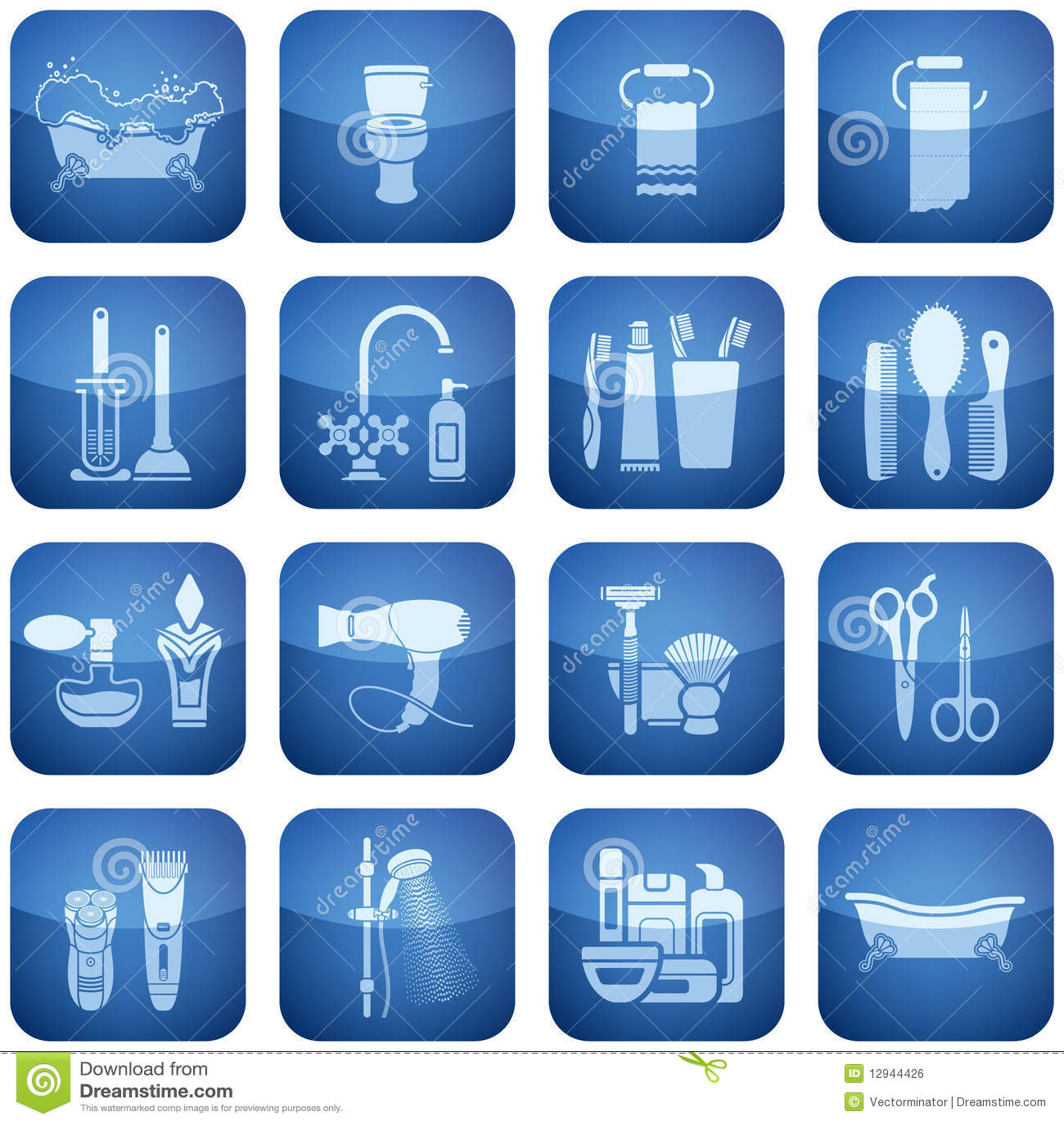 Cobalt Square 2d Icons Set Bath Royalty Free Stock Image Image 12944426