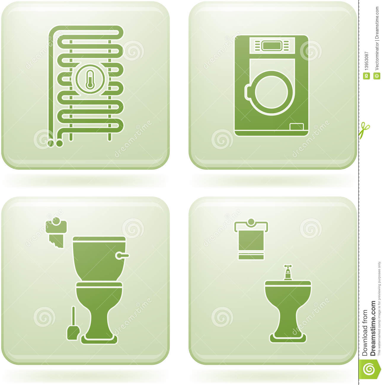 Cobalt square 2d icons set bathroom royalty free stock for Bathroom design 2d