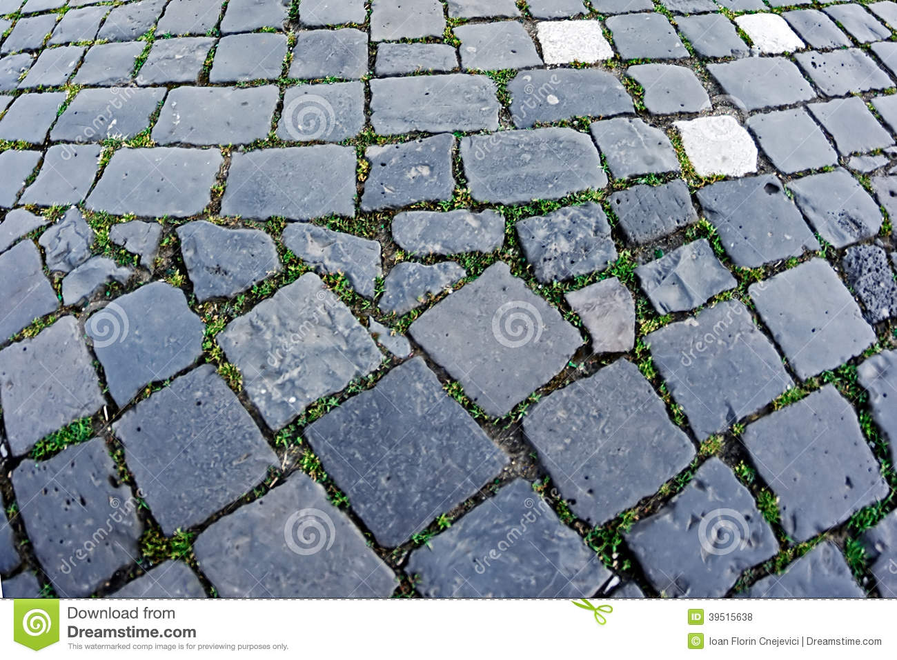 Cobblestone sidewalk made of cubic stones 10