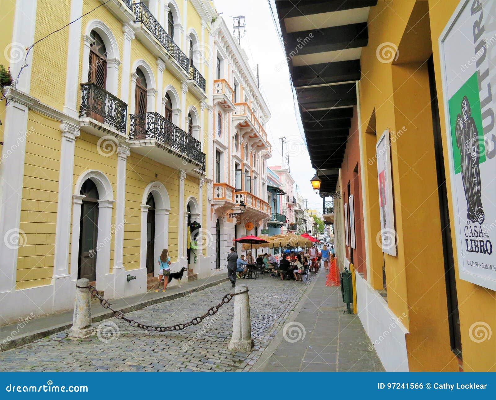 cobblestone streets and architecture in san juan, puerto rico