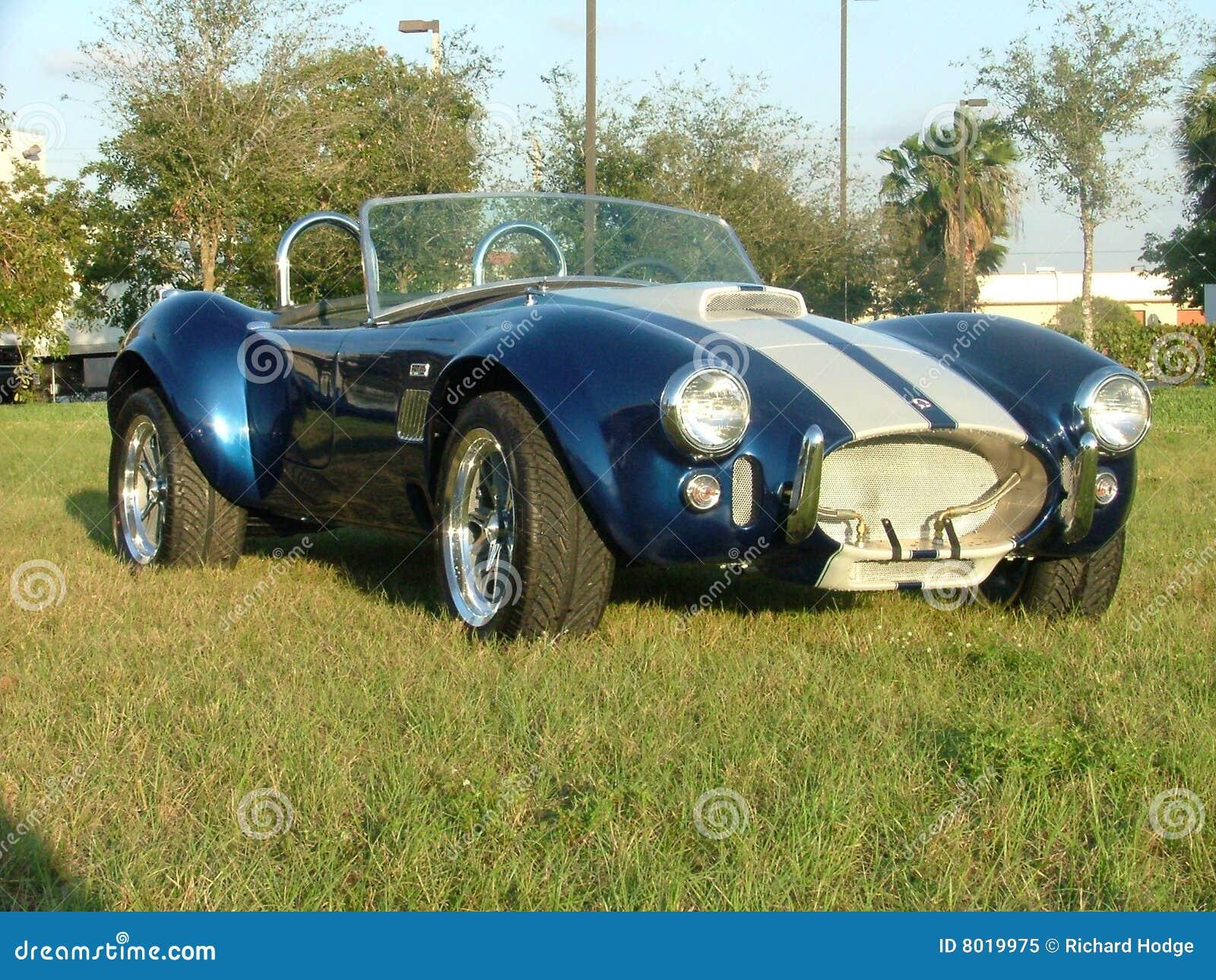Classic cobra car white strips on blue vintage beauty