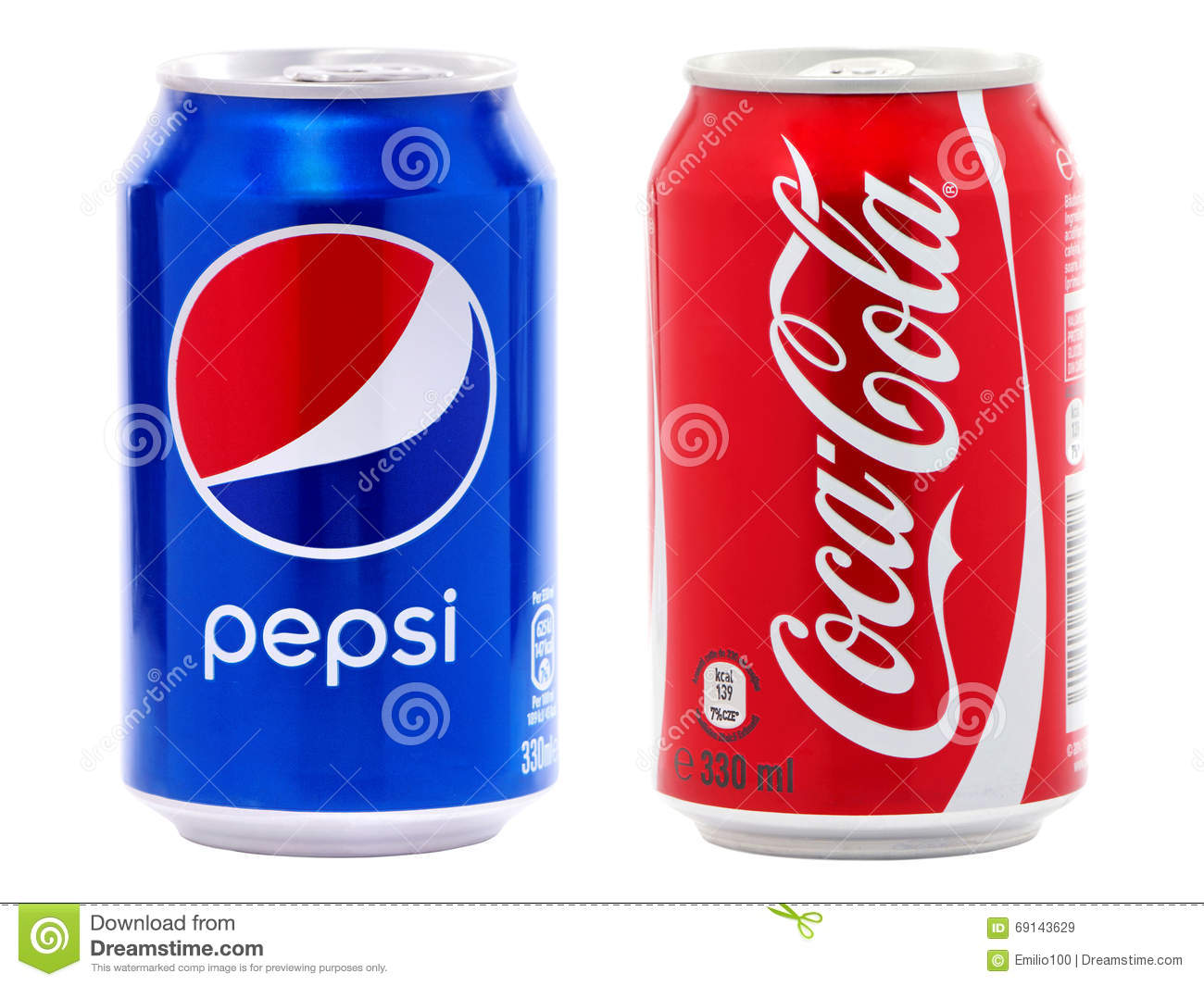 coca cola and pepsi cans editorial stock image image of competitor