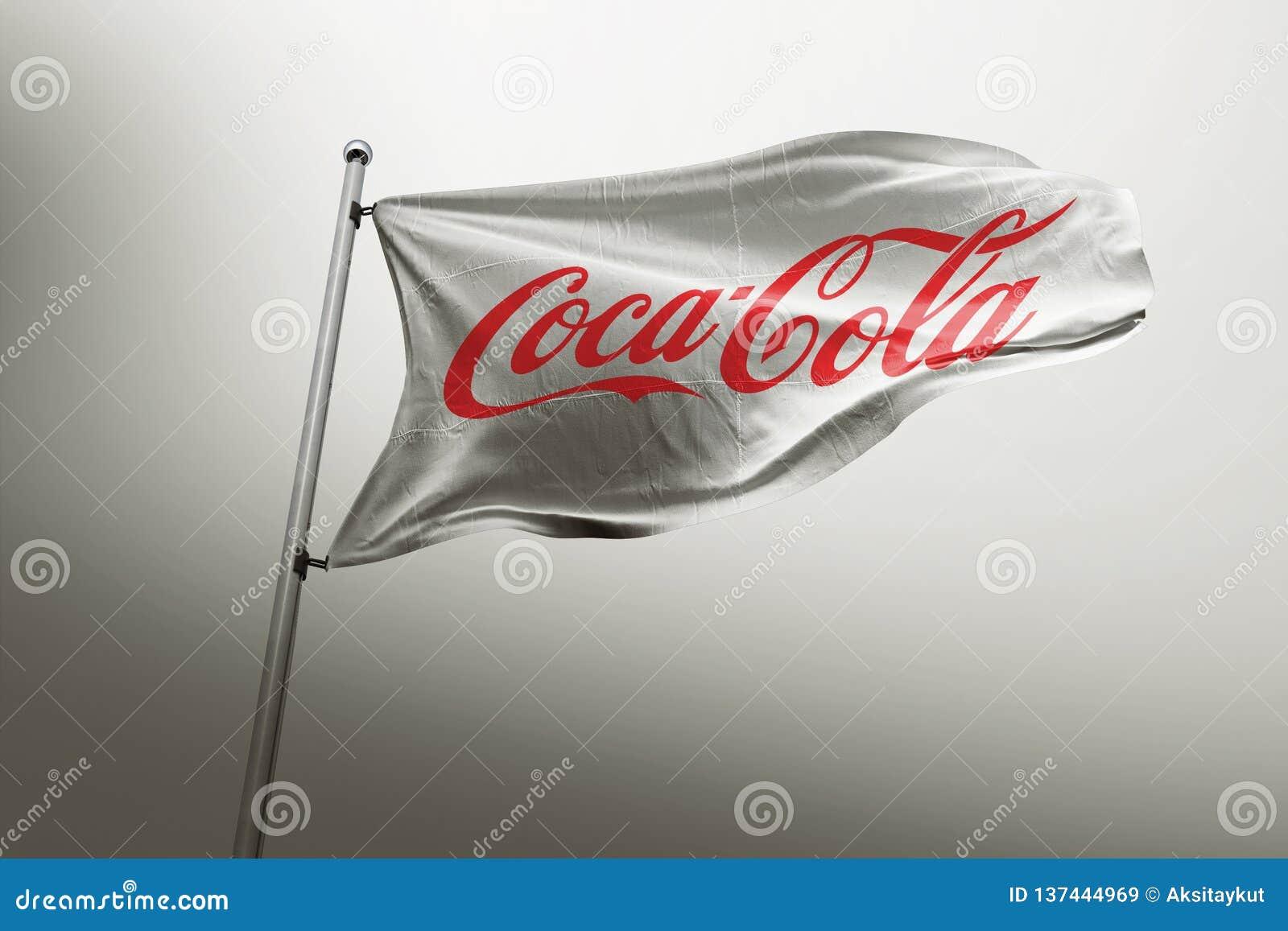 Coca cola photorealistic flag editorial