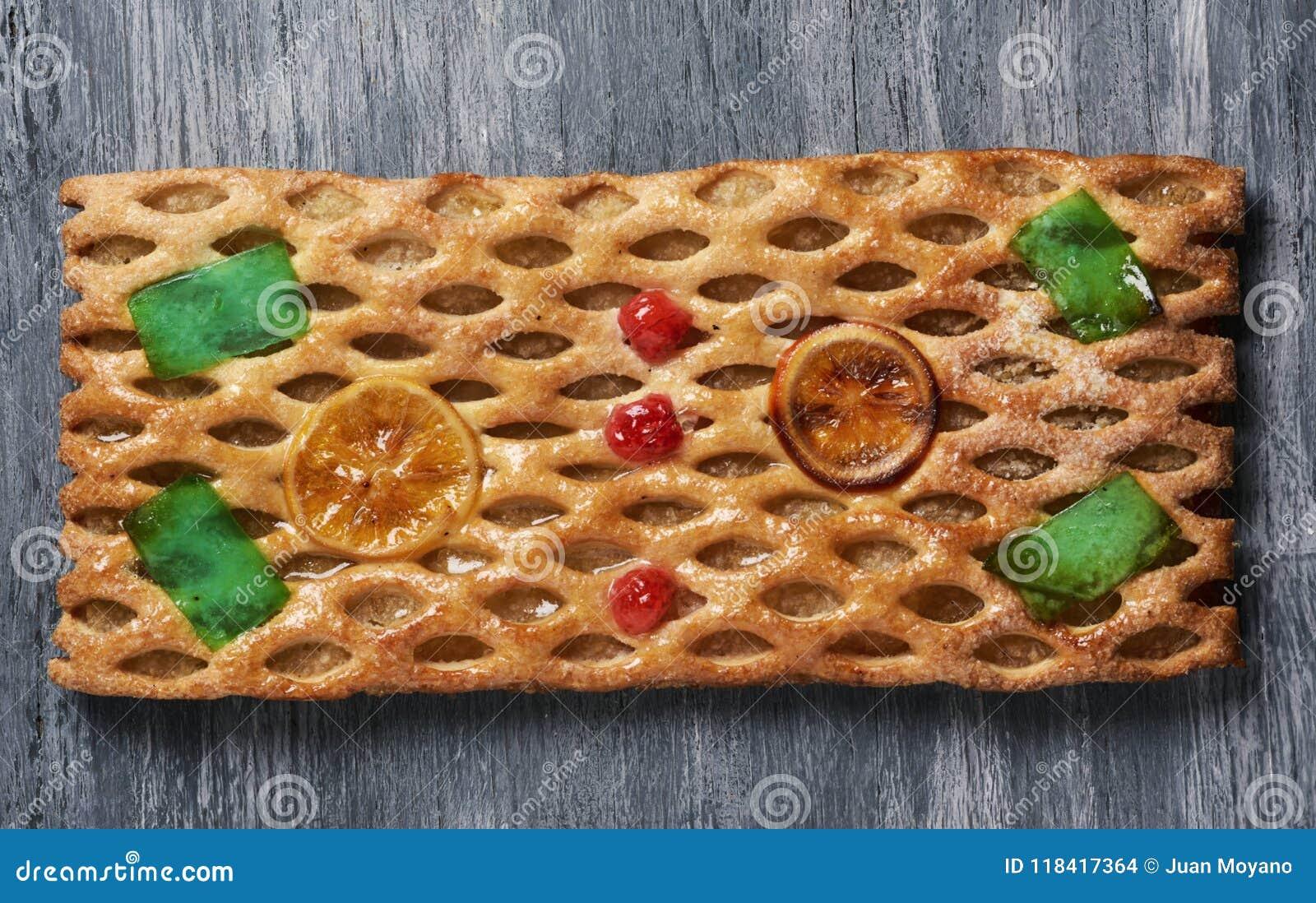 Coca De Sant Joan Susser Flacher Kuchen Von Katalonien Stockfoto