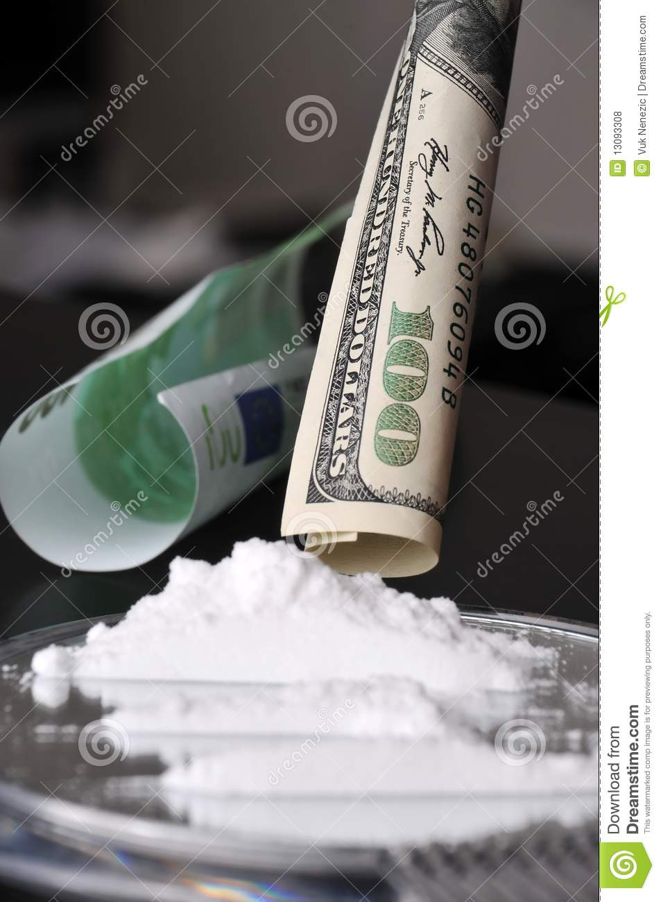 Cocaine And Money Royalty Free Stock Photos Image 13093308