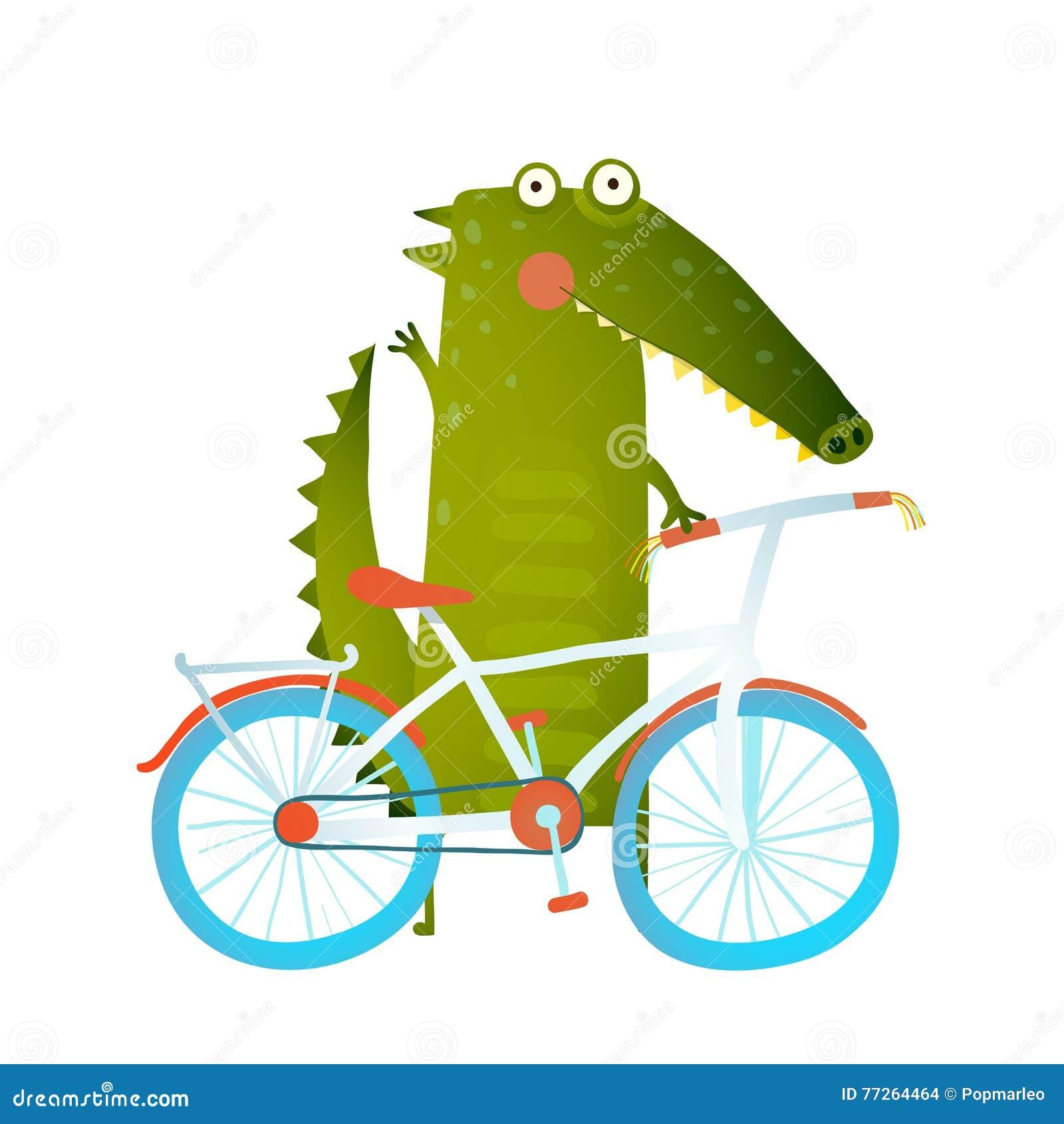 Coccodrillo divertente verde del fumetto con la bicicletta