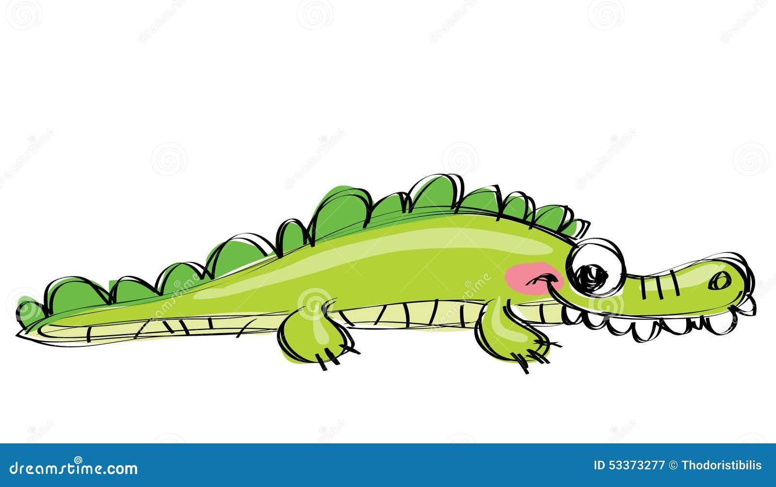 Coccodrillo Felice Verde Del Fumetto Con I Denti Divertenti Come