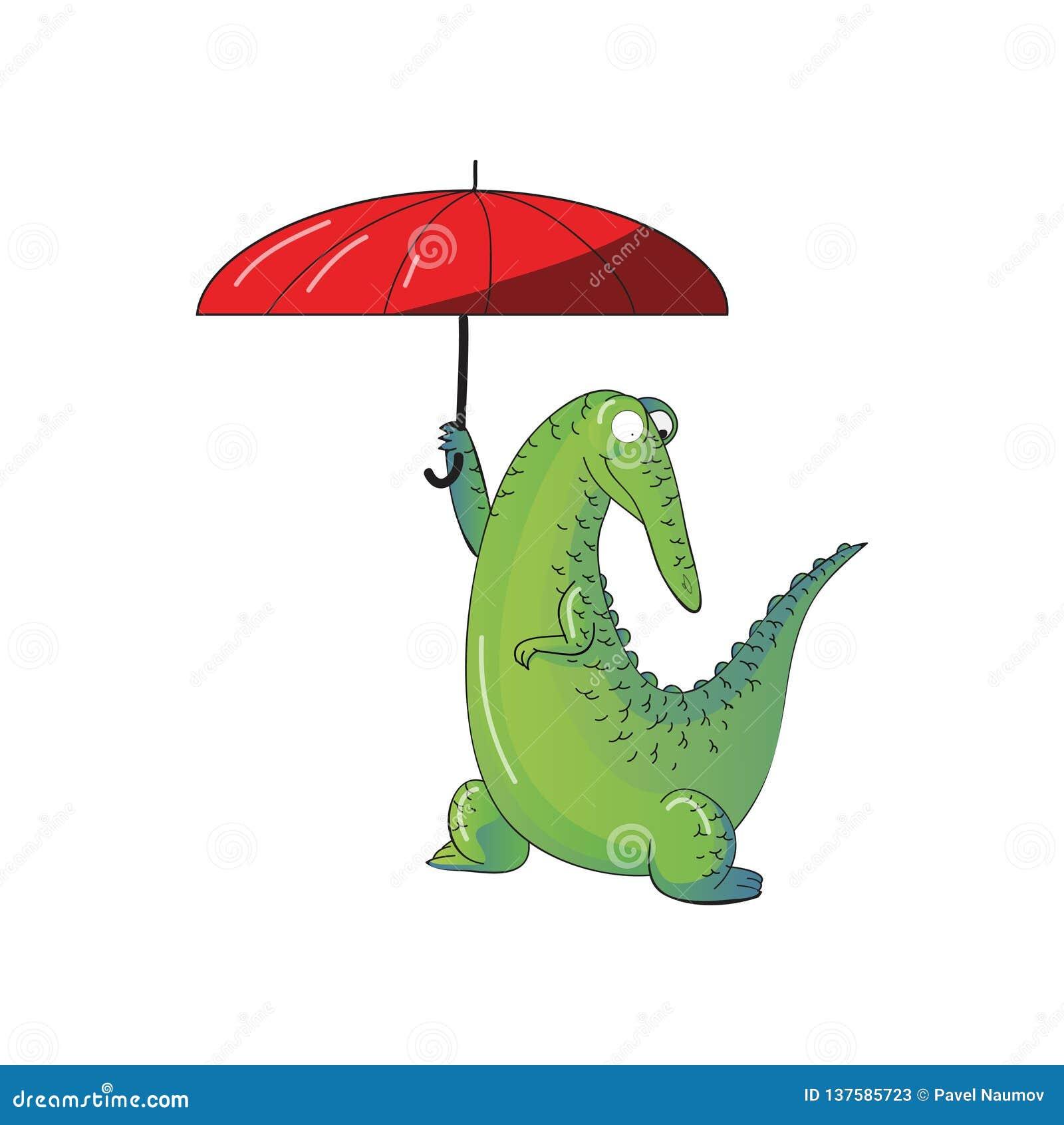 Coccodrillo umanizzato divertente che tiene ombrello rosso luminoso Alligatore verde Animale selvatico Progettazione di vettore d