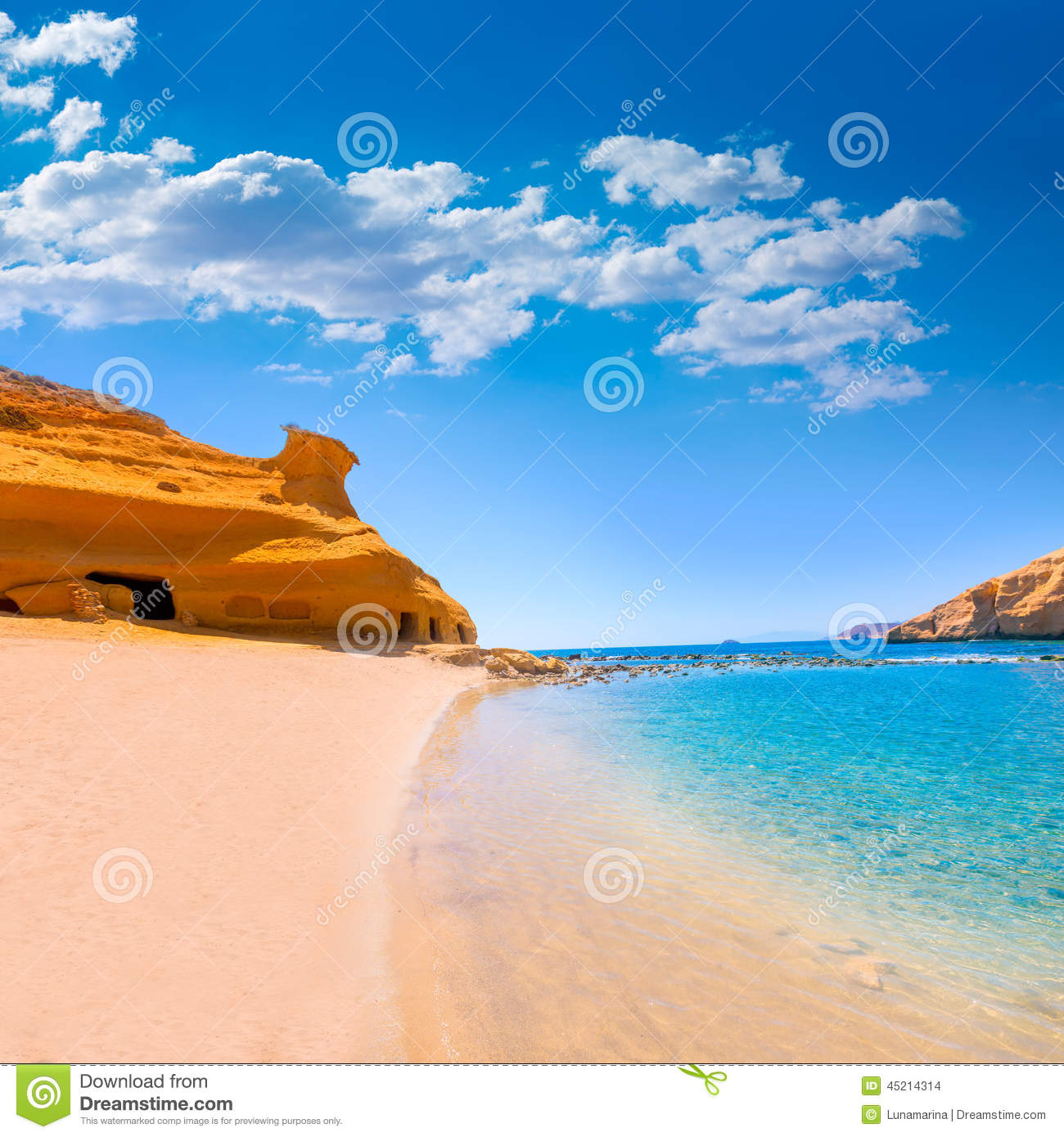 Long Stay Vacations In Spain: Cocedores Beach In Murcia Near Aguilas Spain Stock Photo
