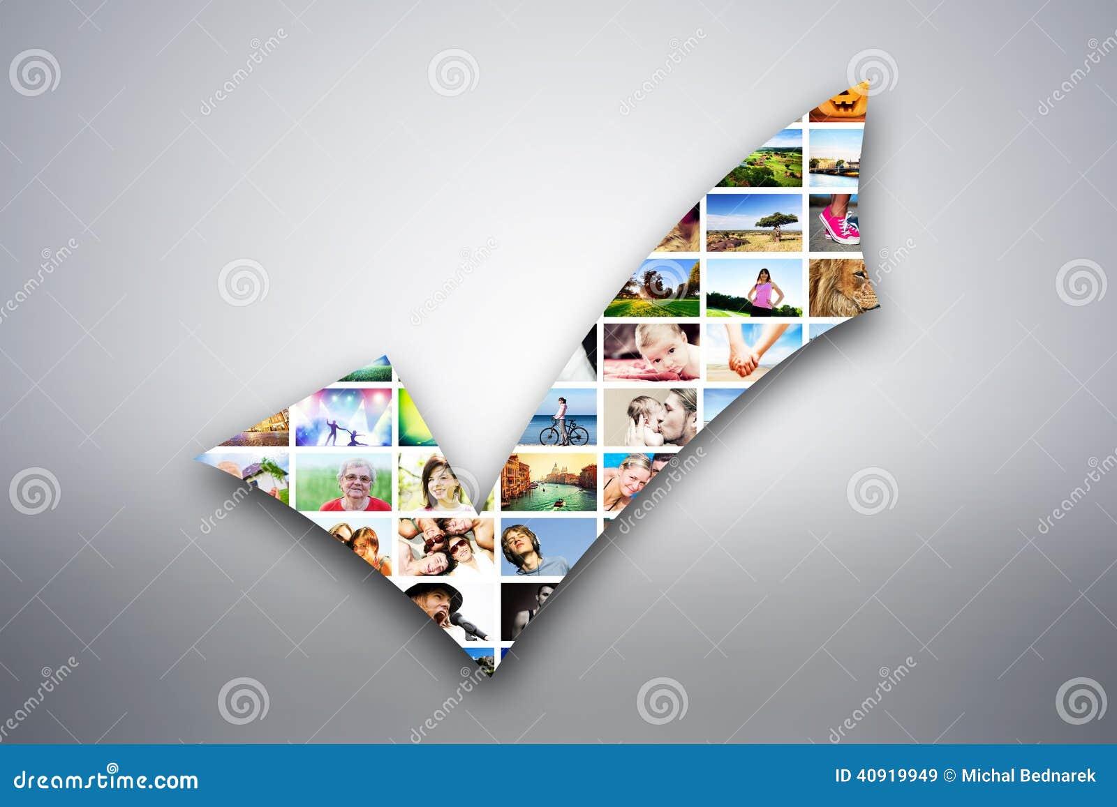 Coche, élément de conception de coutil fait de photos des personnes, animaux et endroits