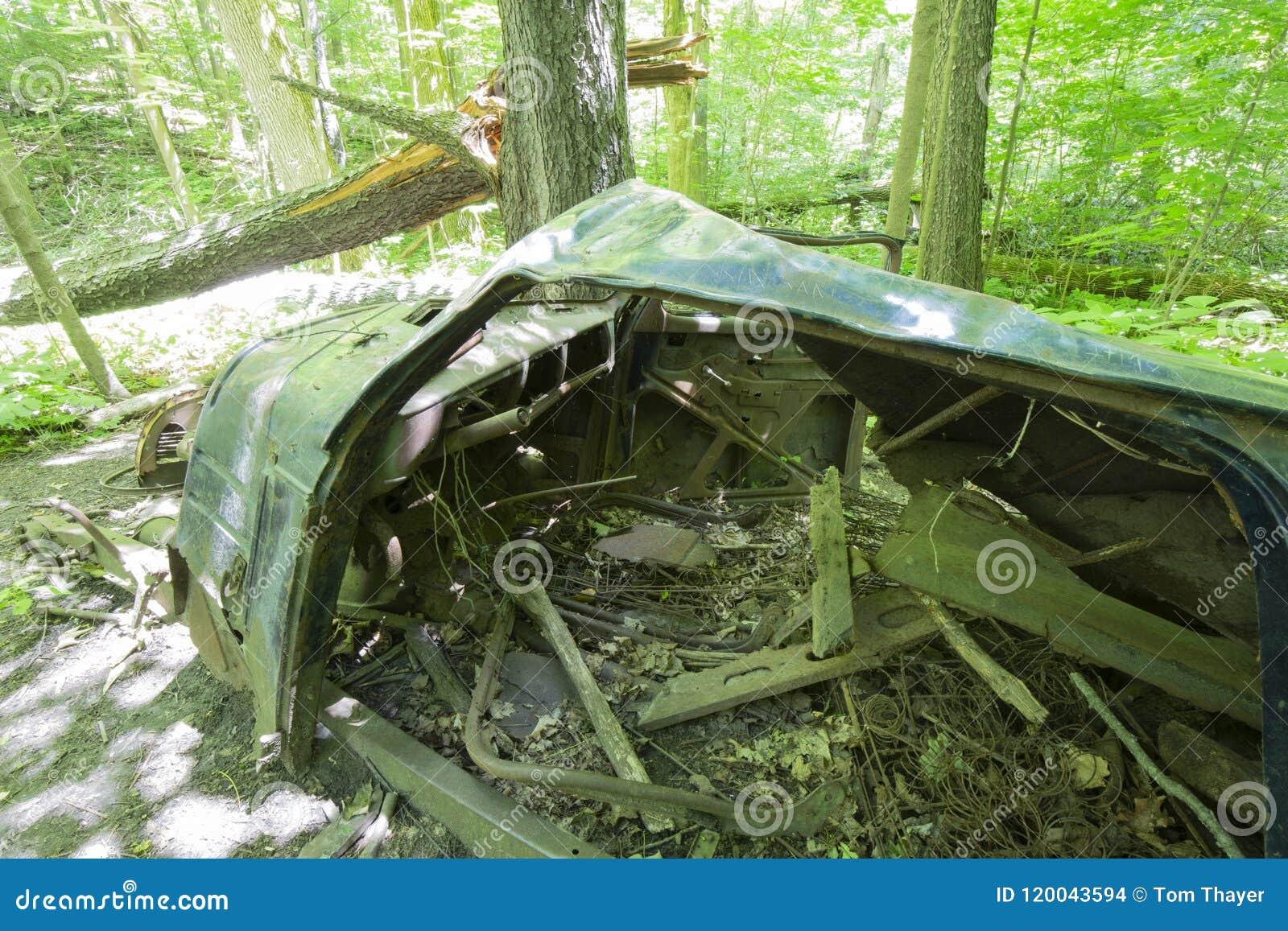 Coche abandonado viejo en el bosque