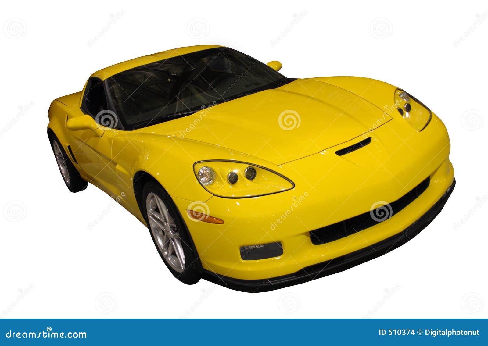 Coche deportivo rayado amarillo