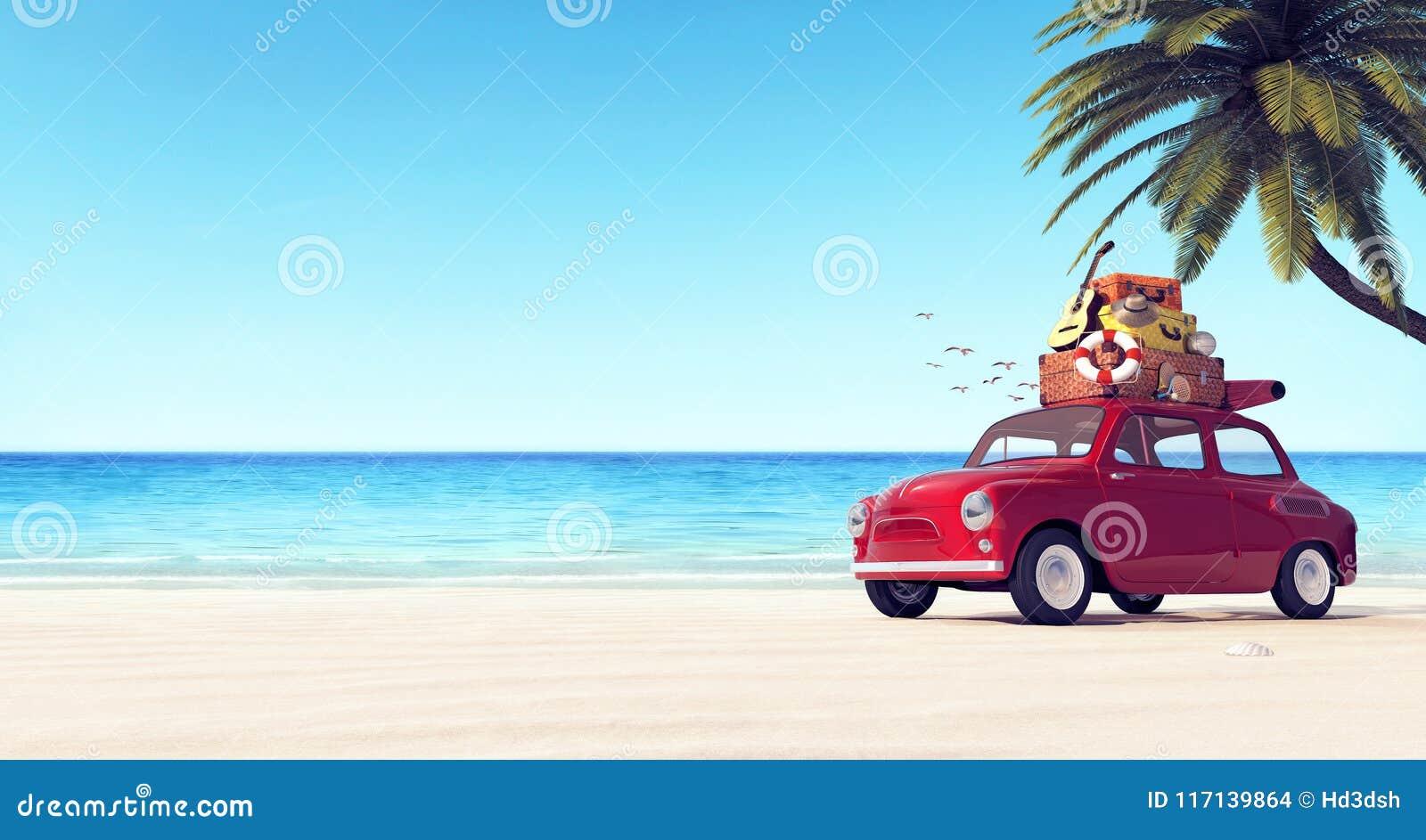 Coche con equipaje en el tejado en la playa lista para las vacaciones de verano