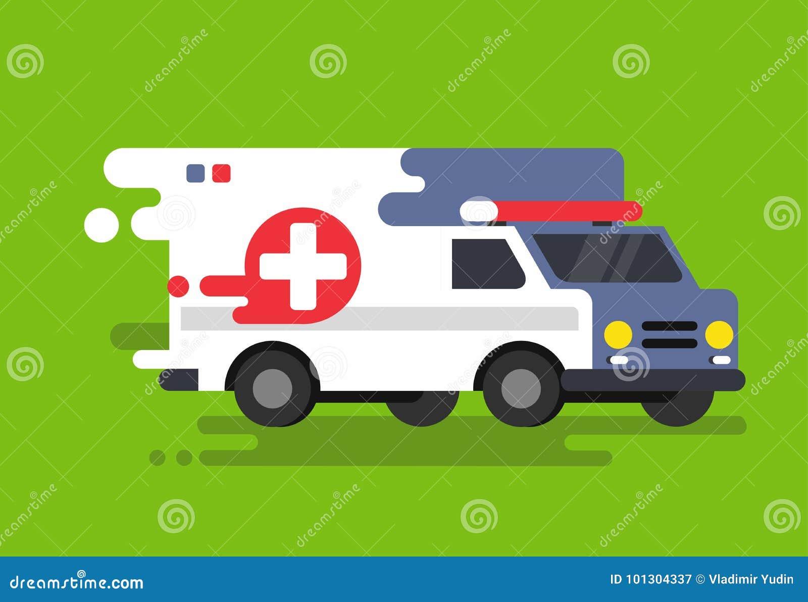 Coche de la ambulancia de la emergencia en estilo plano