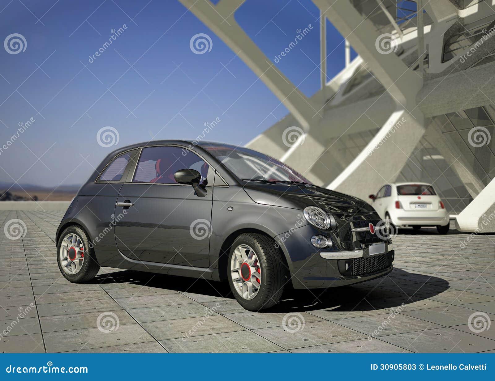 Coche de la ciudad de Fiat 500, fuera del ambiente moderno del edificio industrial.