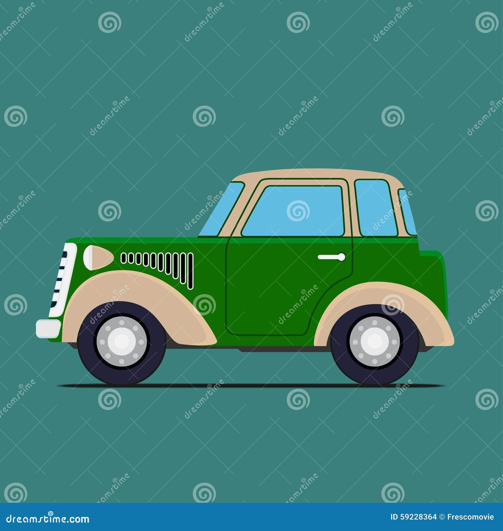 Download Coche De La Vendimia Aislado En Verde Ilustración del Vector - Ilustración de símbolo, automóvil: 59228364