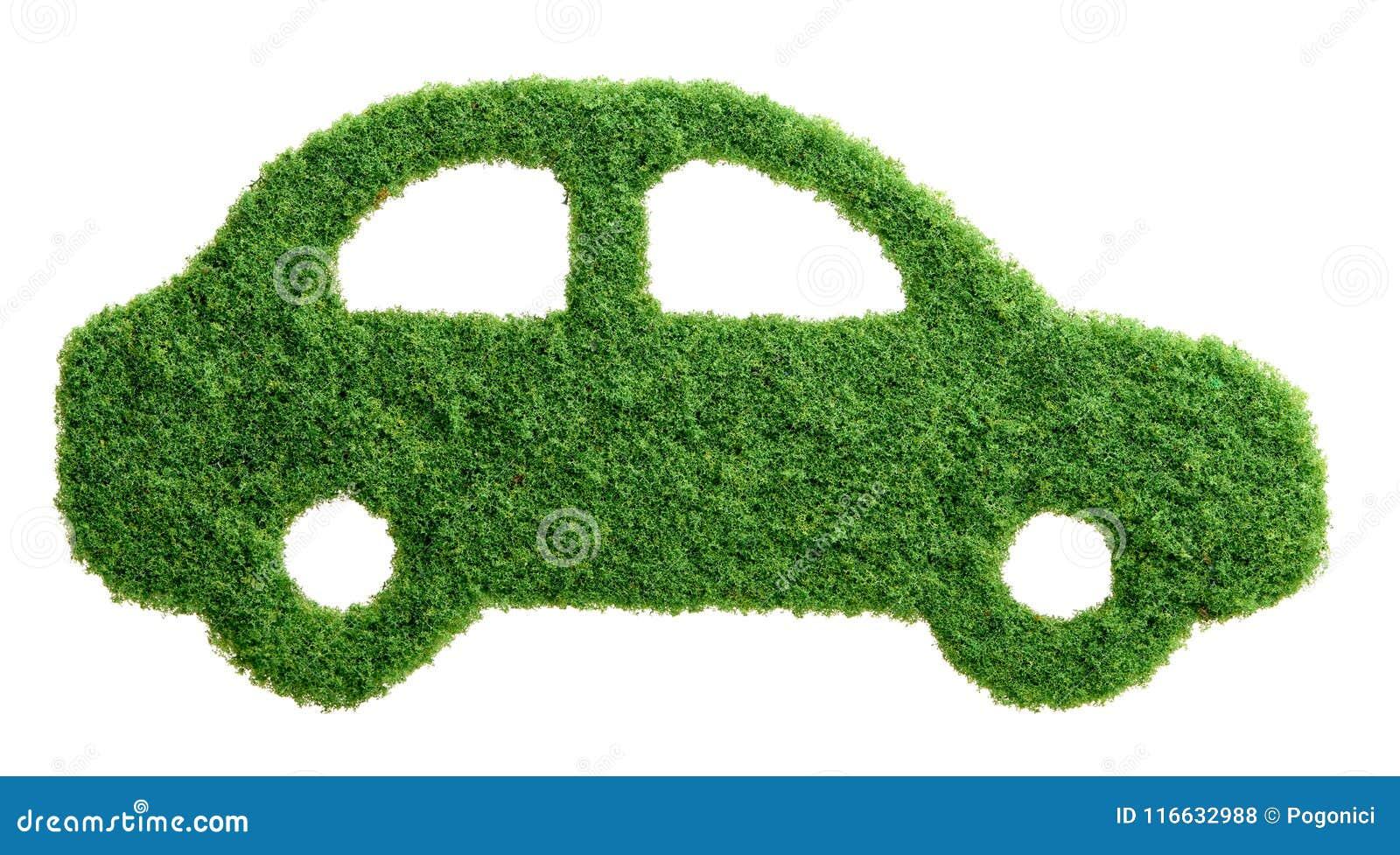 Coche del eco de la hierba verde aislado