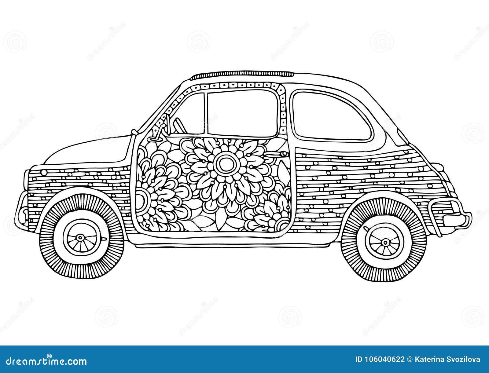 Coche del hippie Pequeño coche lindo con las flores