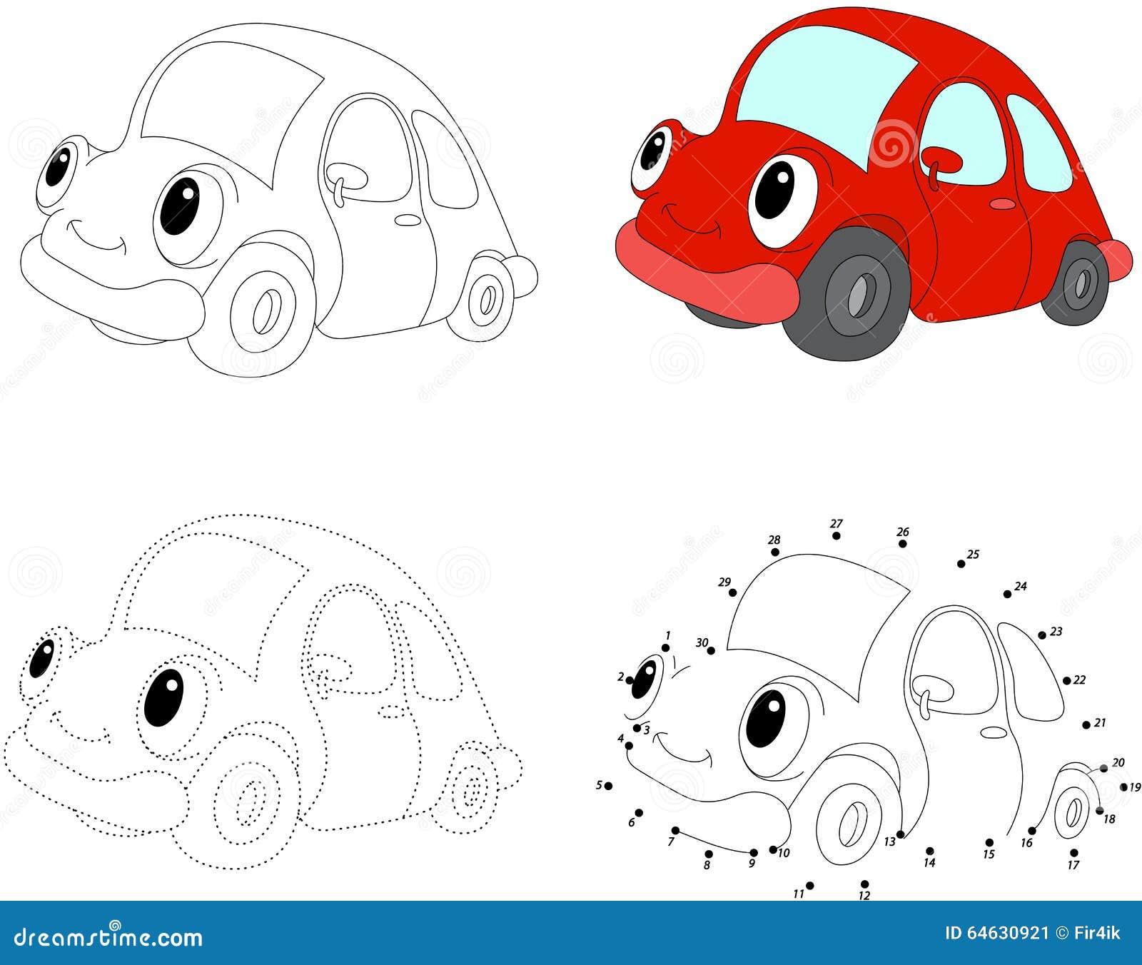 Coche del rojo de la historieta Ilustración del vector Punto para puntear el juego para los niños
