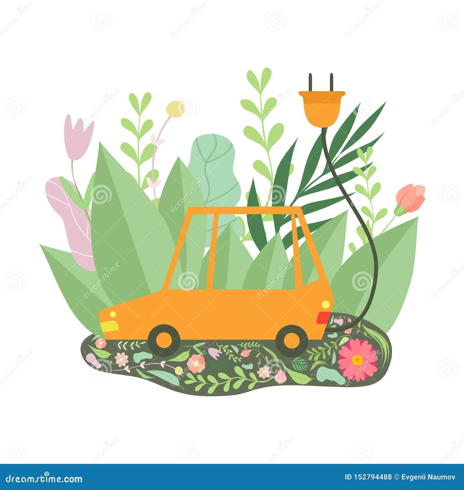 Coche eléctrico amistoso de Eco rodeado por la hierba verde y las flores, protección del medio ambiente, vector del concepto de l